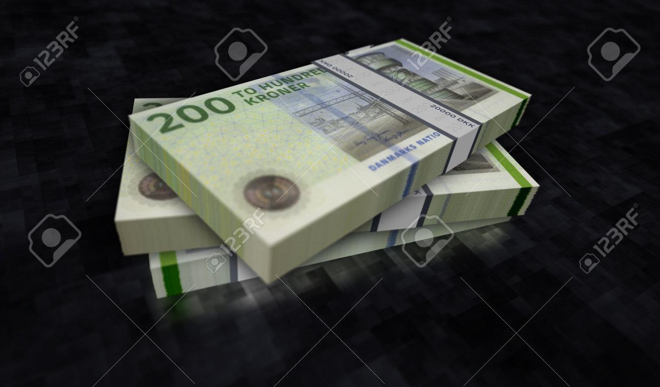 Danish krona money pack 3d illustration. DKK banknote bundle stacks. Concept of finance, cash, economy crisis, business success, recession, bank, tax and debt in Denmark. - 169697856