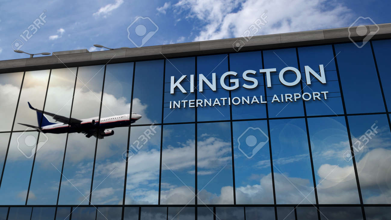 Jet aircraft landing at Kingston, Jamaica 3D rendering illustration. Arrival in the city with the glass airport terminal and reflection of the plane. Travel, business, tourism and transport concept. - 169697860