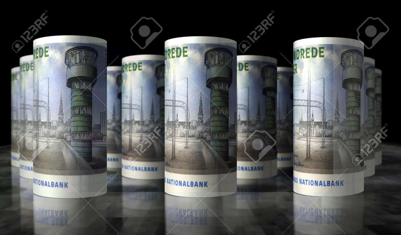 Danish krona money pack 3d illustration. DKK banknote bundle stacks. Concept of finance, cash, economy crisis, business success, recession, bank, tax and debt in Denmark. - 169697865
