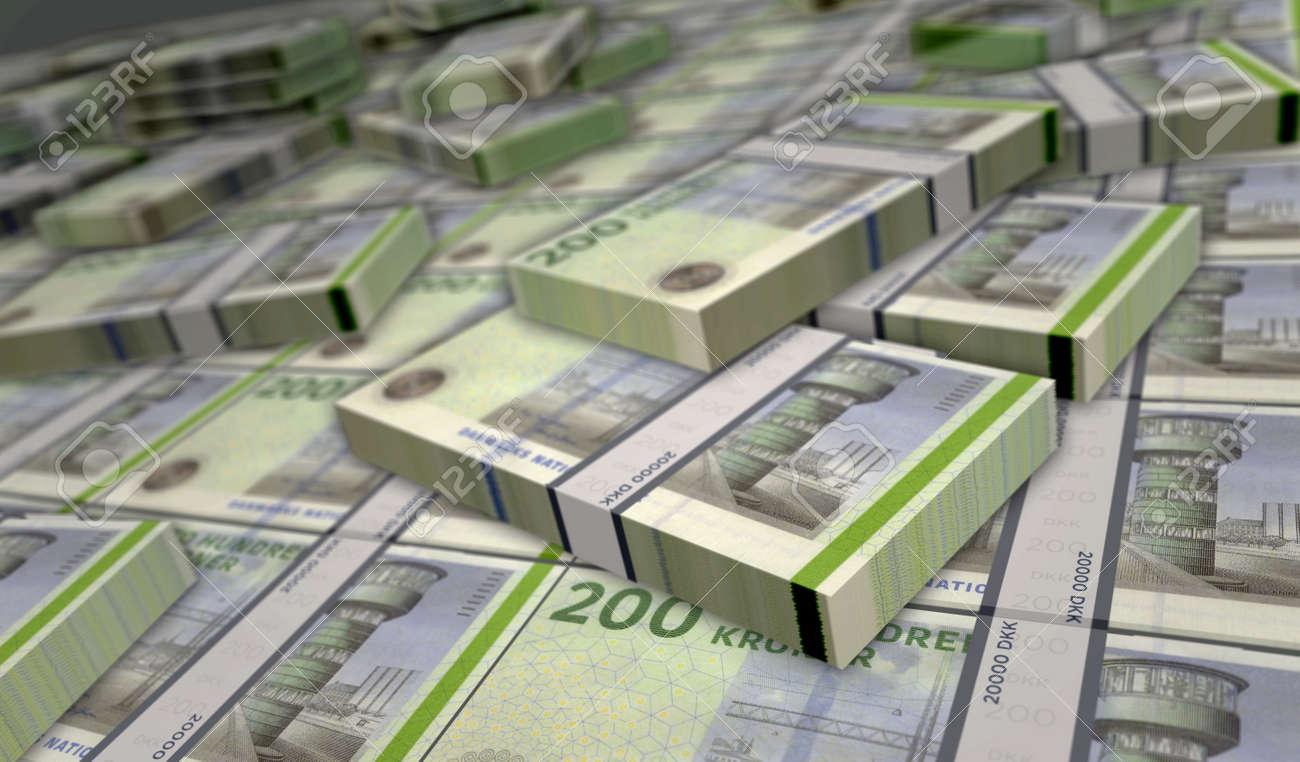 Danish krona money pack 3d illustration. DKK banknote bundle stacks. Concept of finance, cash, economy crisis, business success, recession, bank, tax and debt in Denmark. - 169697867