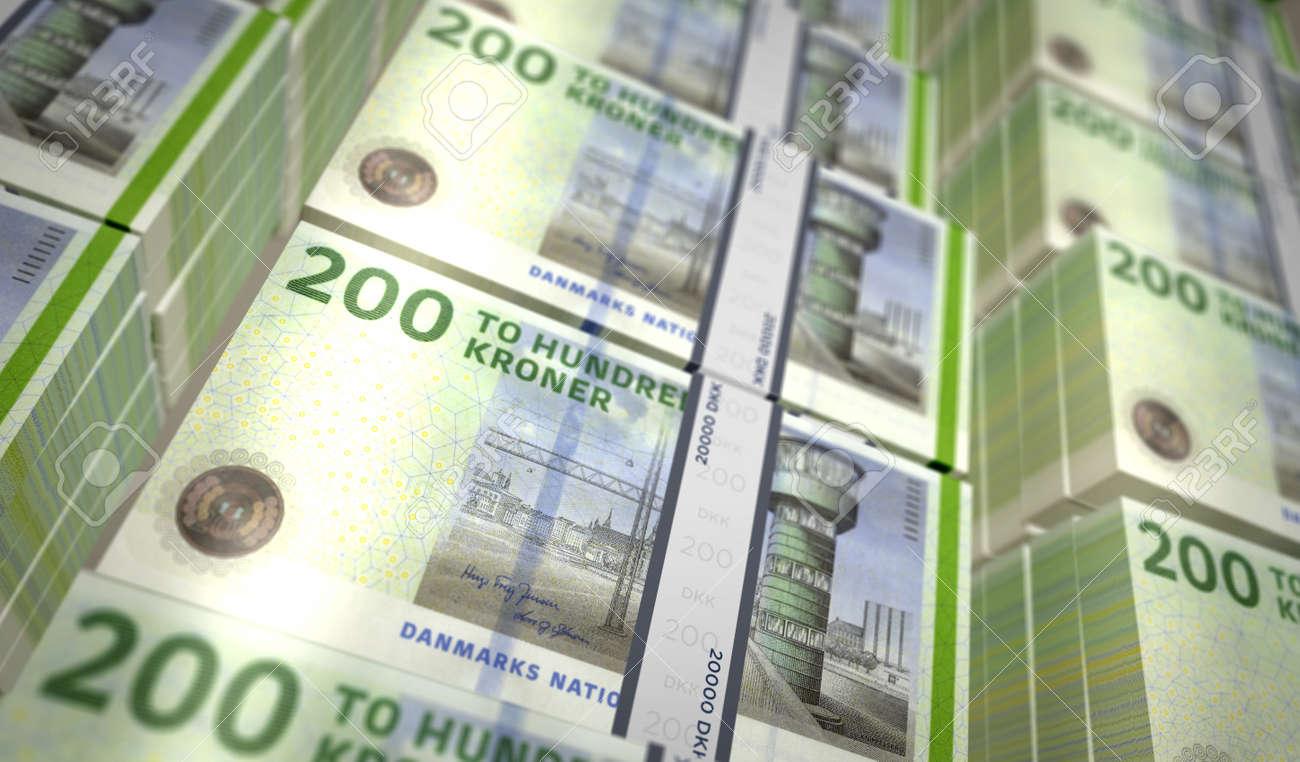 Danish krona money pack 3d illustration. DKK banknote bundle stacks. Concept of finance, cash, economy crisis, business success, recession, bank, tax and debt in Denmark. - 169697871