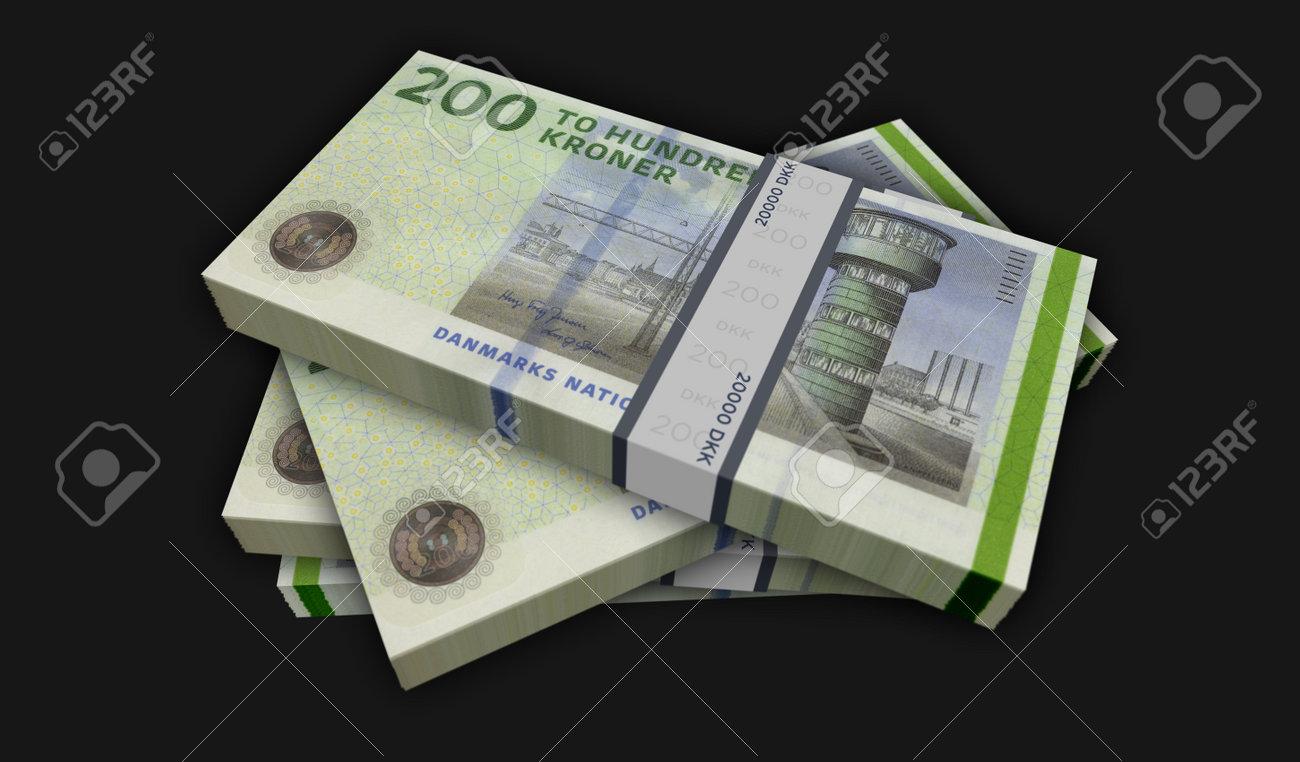 Danish krona money pack 3d illustration. DKK banknote bundle stacks. Concept of finance, cash, economy crisis, business success, recession, bank, tax and debt in Denmark. - 169697885