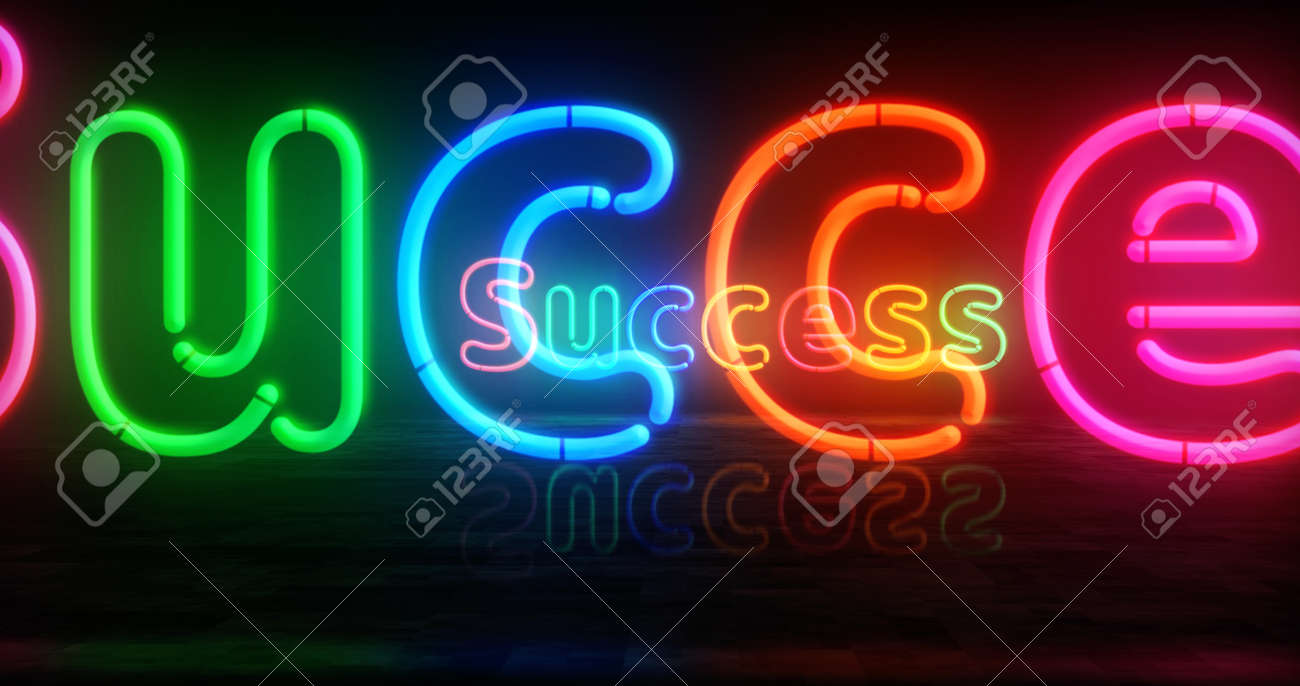 Success symbol neon symbol. Light color bulbs with retro nightlife city business club sign. Abstract concept 3d illustration. - 170077475