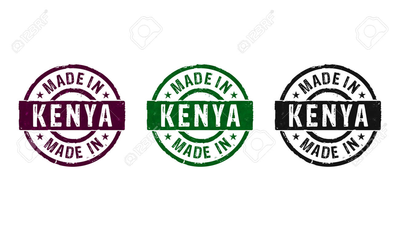 Made in Kenya stamp icons in few color versions. Factory, manufacturing and production country concept 3D rendering illustration. - 170076825