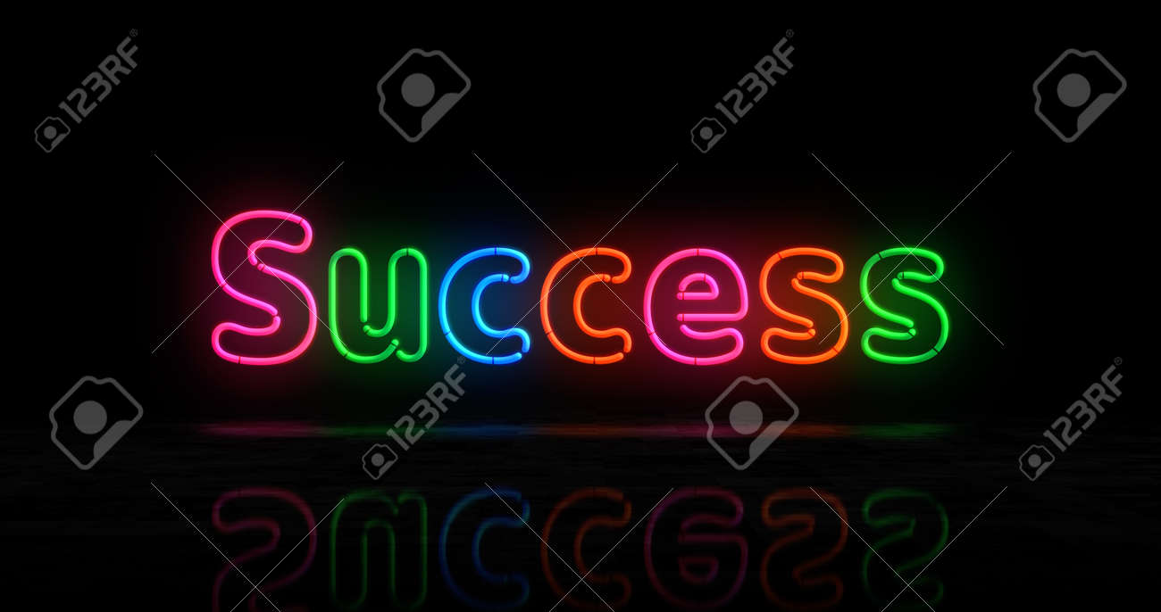 Success symbol neon symbol. Light color bulbs with retro nightlife city business club sign. Abstract concept 3d illustration. - 170076987