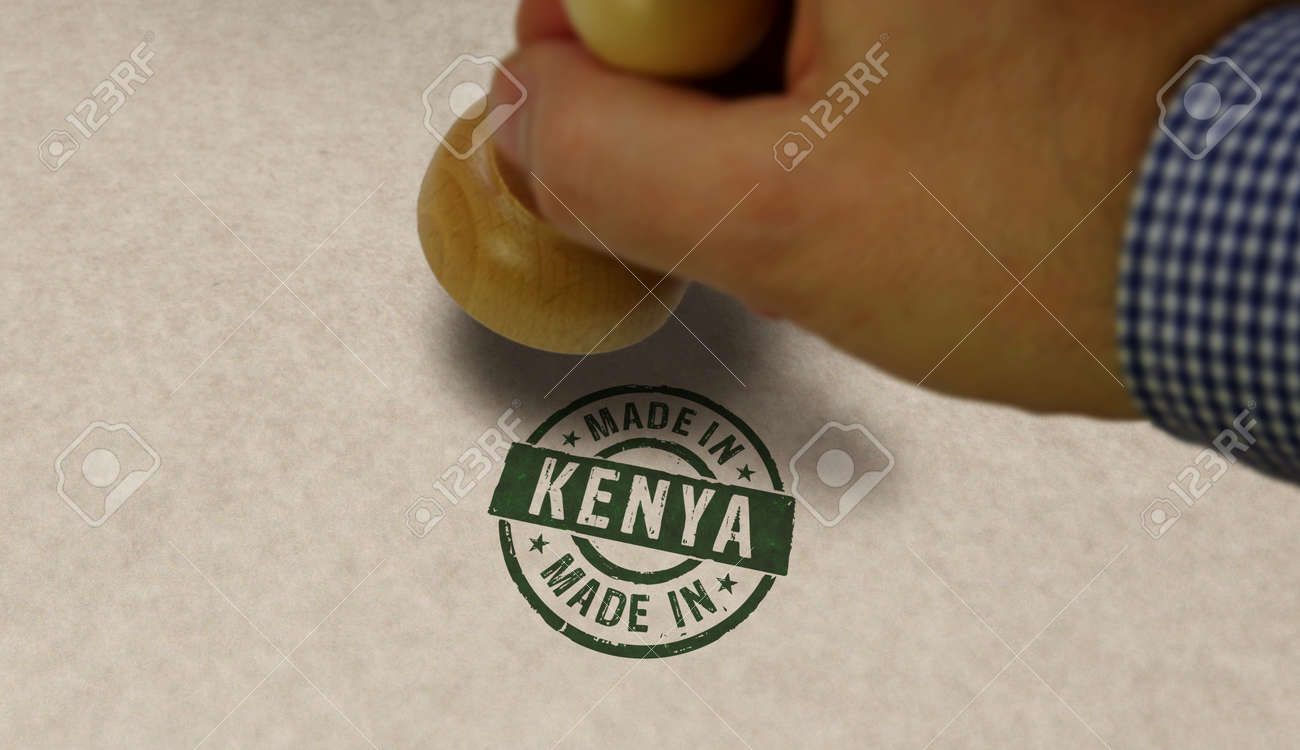 Made in Kenya stamp and stamping hand. Factory, manufacturing and production country concept. - 170077769