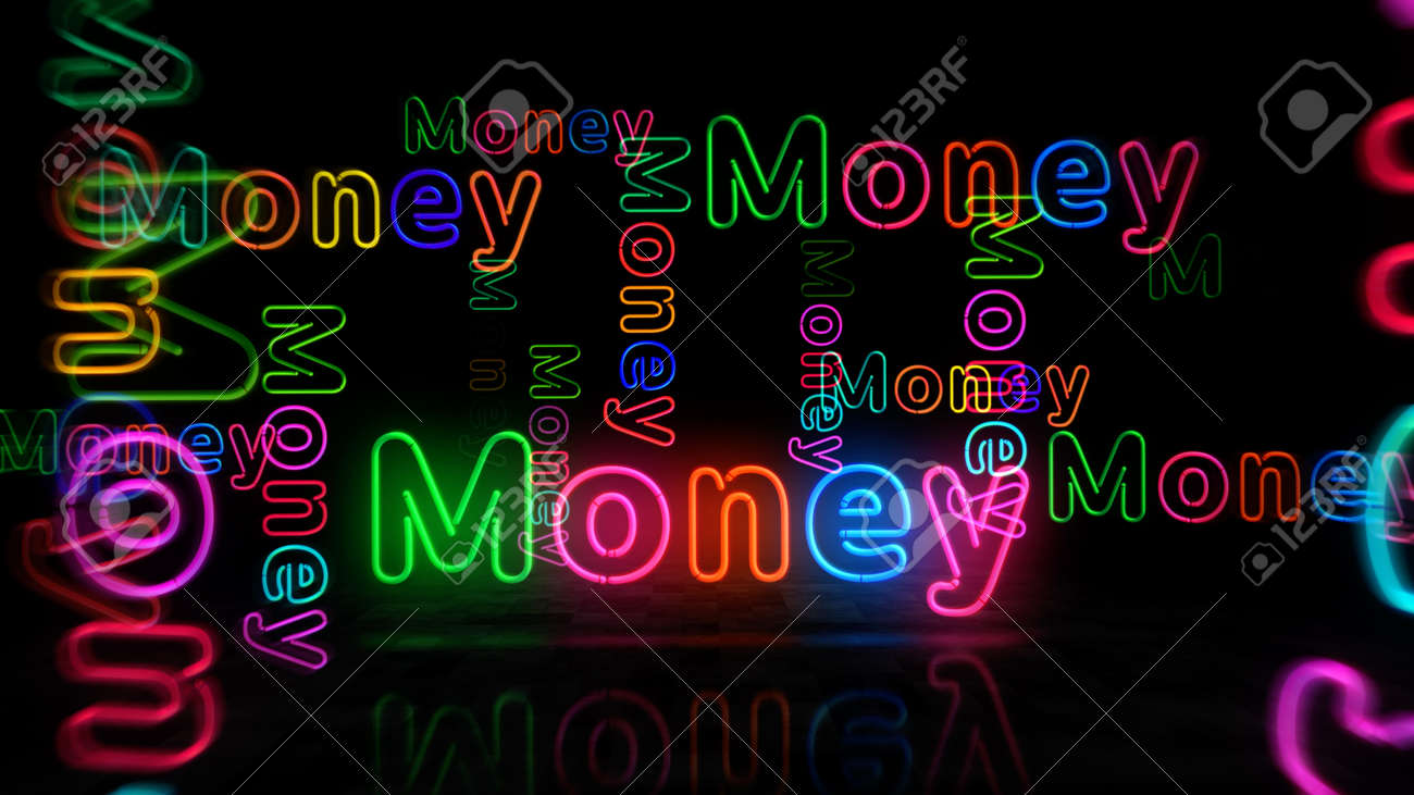 Money neon symbol. Light color bulbs with retro nightlife city business club sign. Abstract concept 3d illustration. - 169971182