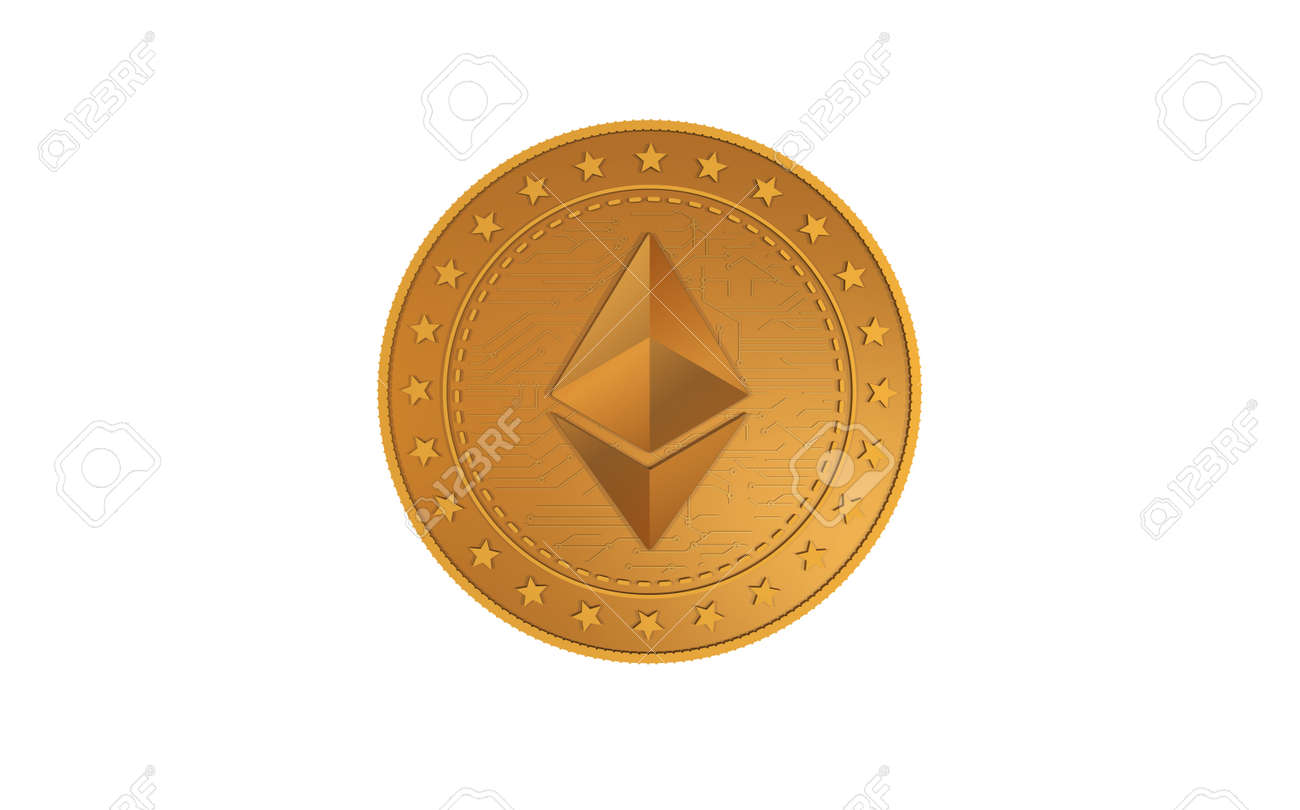 Ethereum ETH cryptocurrency symbol isolated gold coin on green screen background. Abstract concept illustration. - 169971193