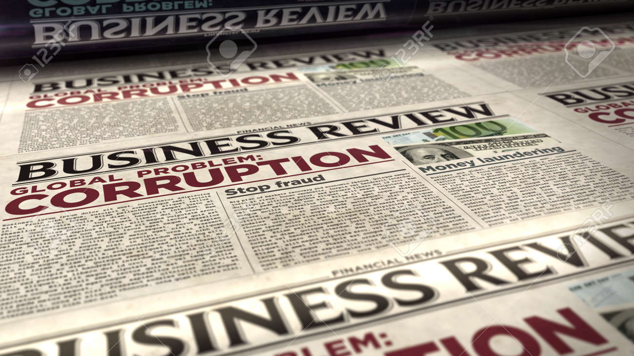 Corruption in business global problem, stop fraud and money laundering news. Daily newspaper print. Vintage paper media press production abstract concept. Retro style 3d rendering illustration. - 169971189