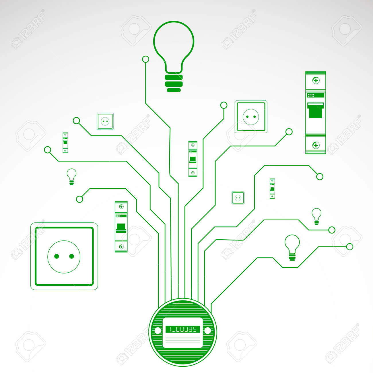 Kunst Elektrischen Schaltung Mit Stromzähler Lizenzfrei Nutzbare ...