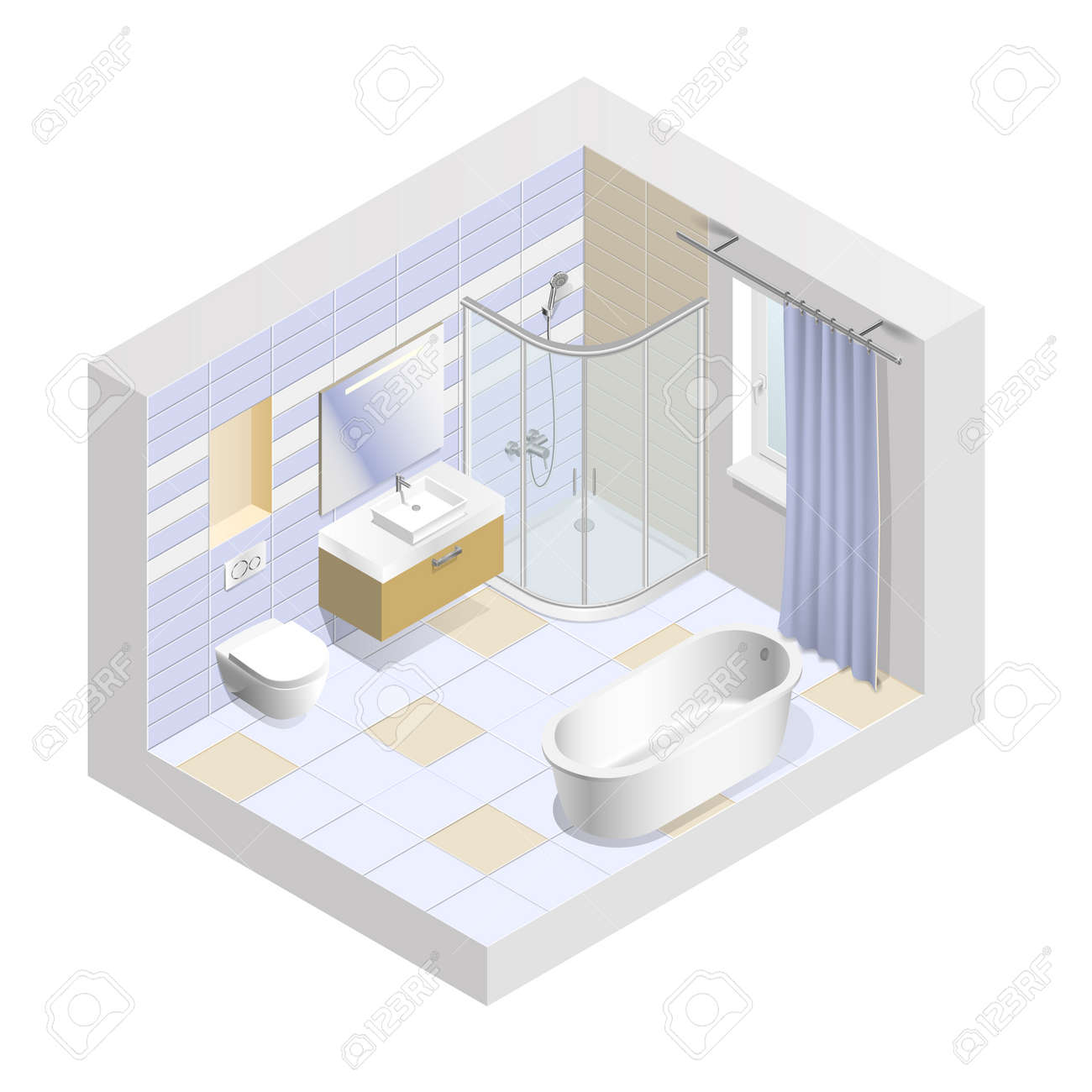 Modern Bathroom Interior Isometric. Easy To Change The Color ...