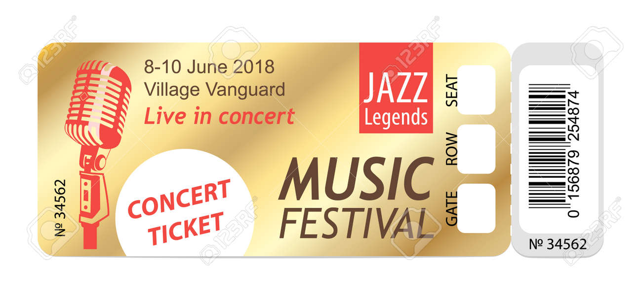 Music Dance Live Concert Entrance Vector Tickets Templates