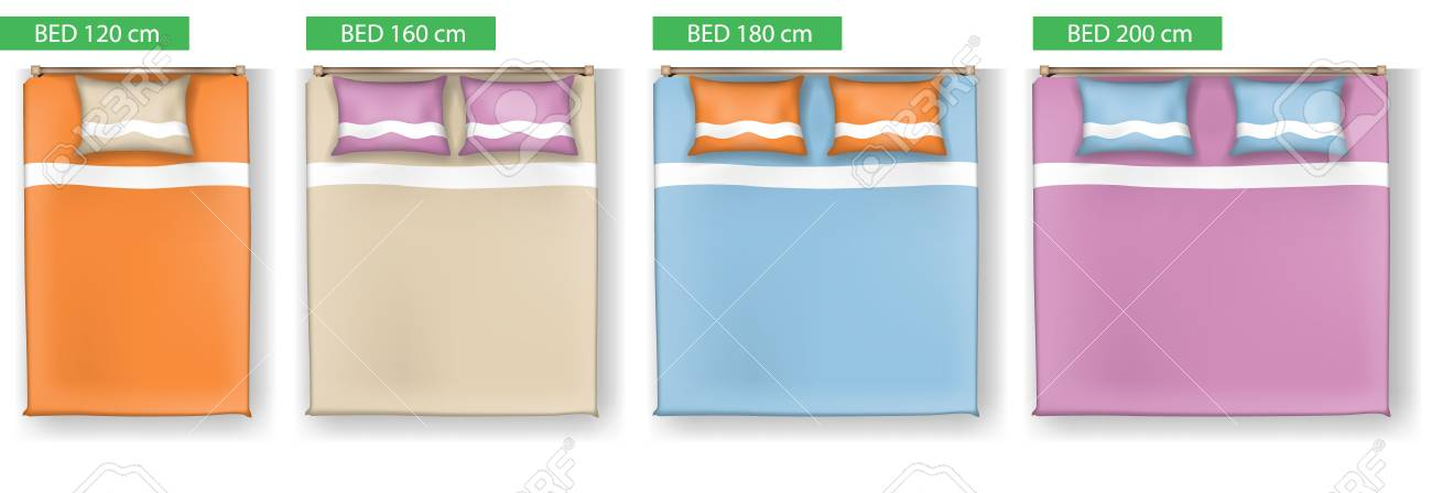 Set Of Simple Bed Vector Icons Furniture For Floor Plan Outline Royalty Free Cliparts Vectors And Stock Illustration Image 98632523