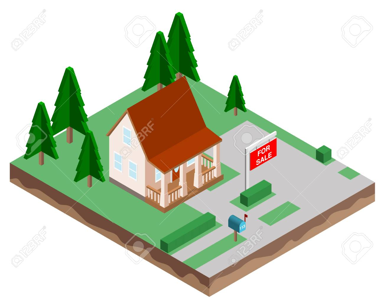 Buying a new home. The house for sale. Vector illustration in a isometric style. - 101974846