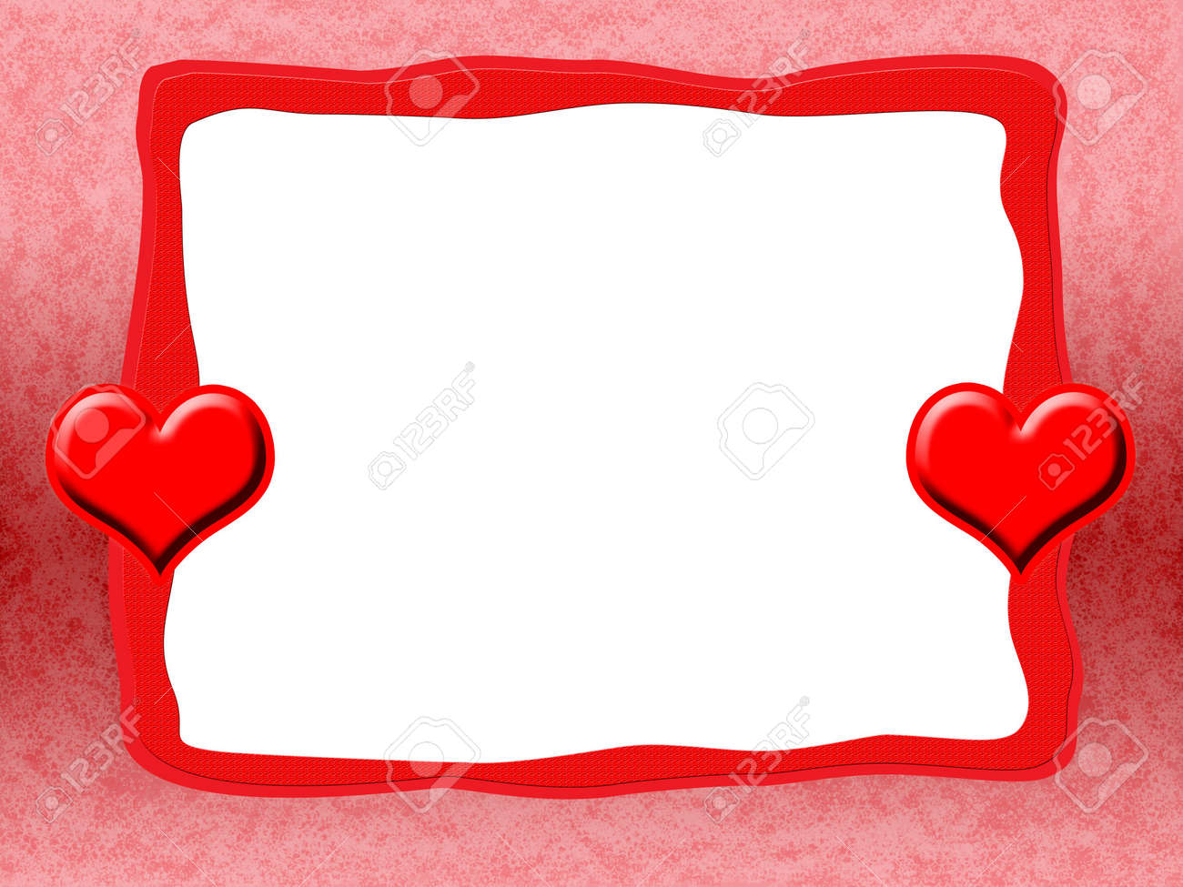 Elegant Romantic Love Frame With Red Hearts And Blank White ...