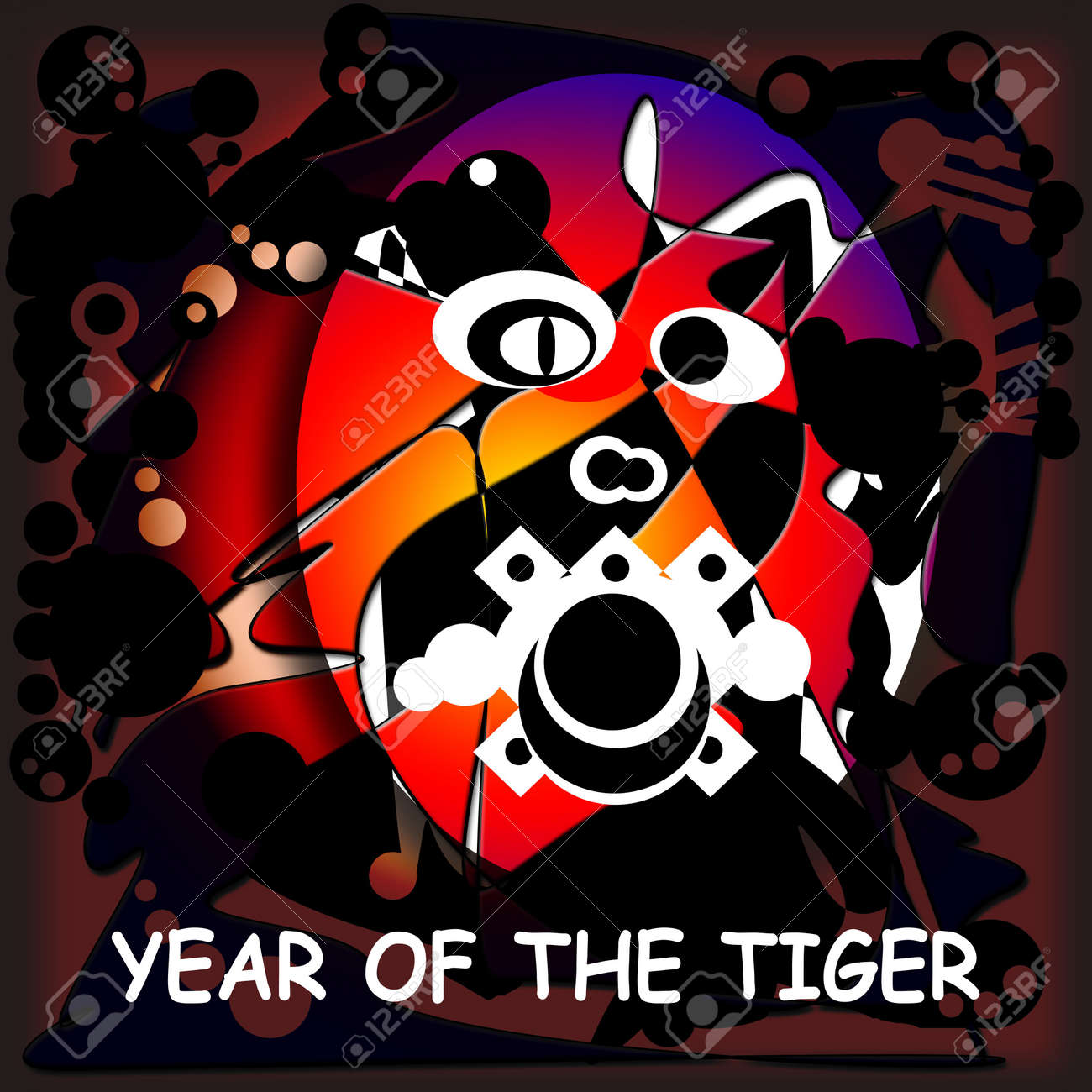 Abstract Illustration with a Tiger To Chinese New Year Stock Photo - 6285924
