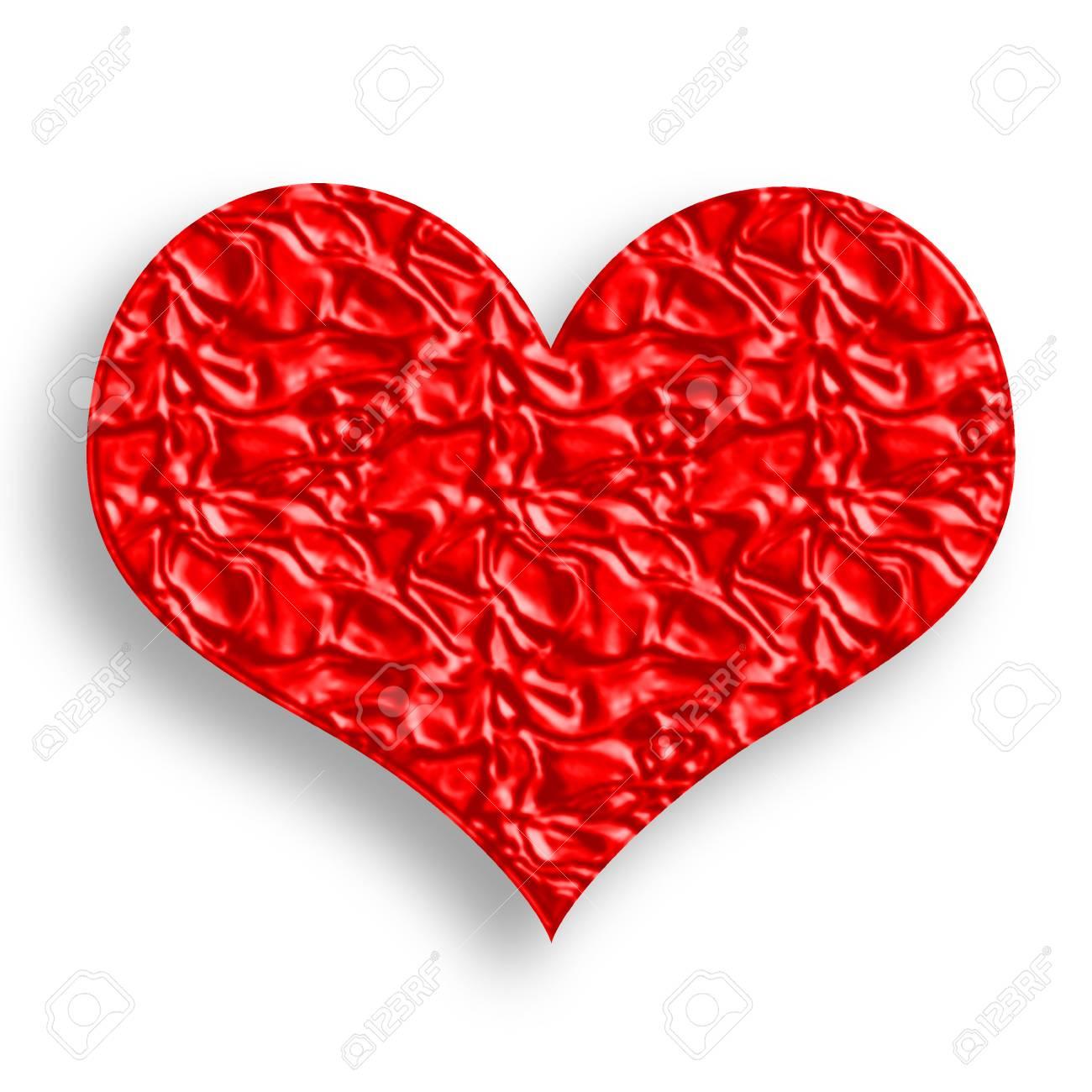 Wrinked Red Heart Symbol Illustration over White Background Stock Illustration - 6339941