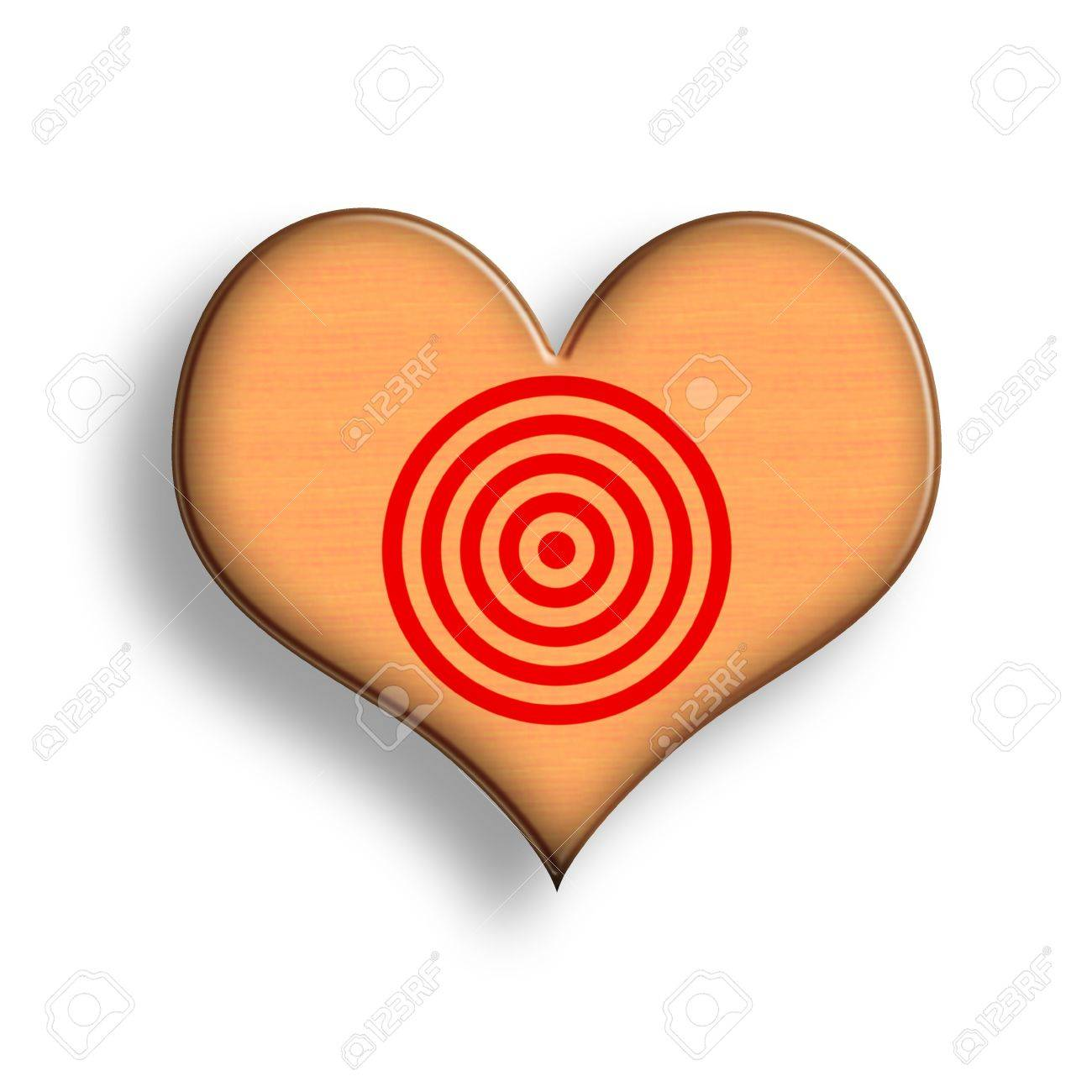 ooden Heart Symbol with Target. Illustration over White Background Stock Photo - 6339920