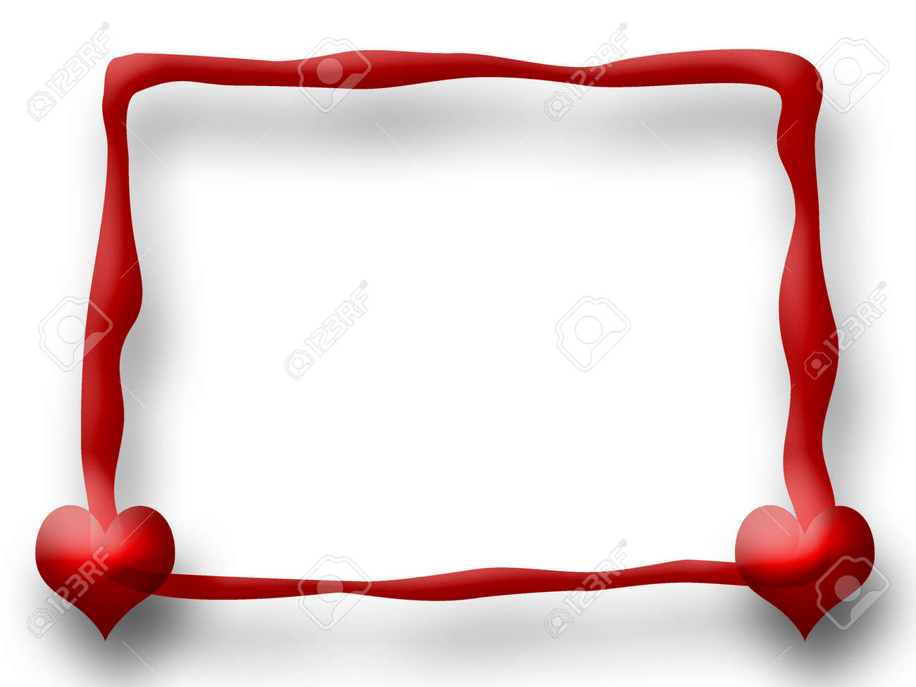 Love Frame With Two Hearts Over White Background Stock Photo ...