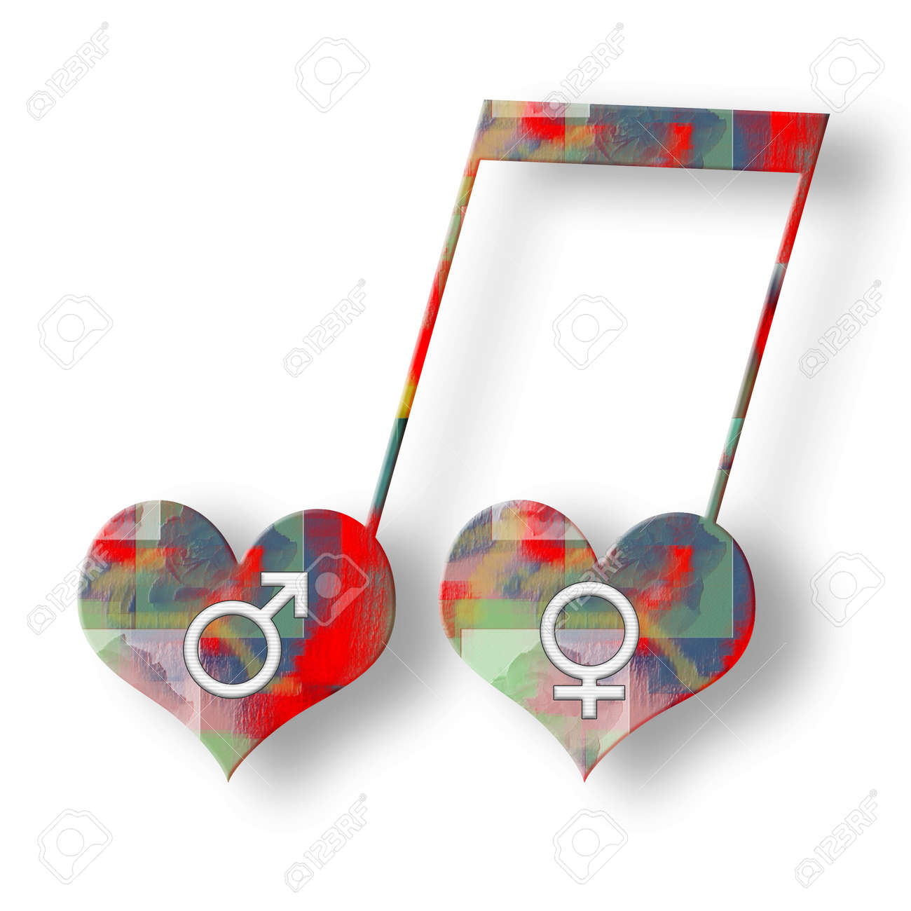 Two hearts with white venus and mars symbols in music harmony two hearts with white venus and mars symbols in music harmony bright colorful musical note over buycottarizona Choice Image