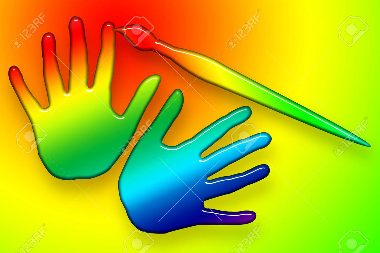 Paints Hands Over, Brush coloring hands, bright funny illustration over colorful background Stock Photo - 6879866