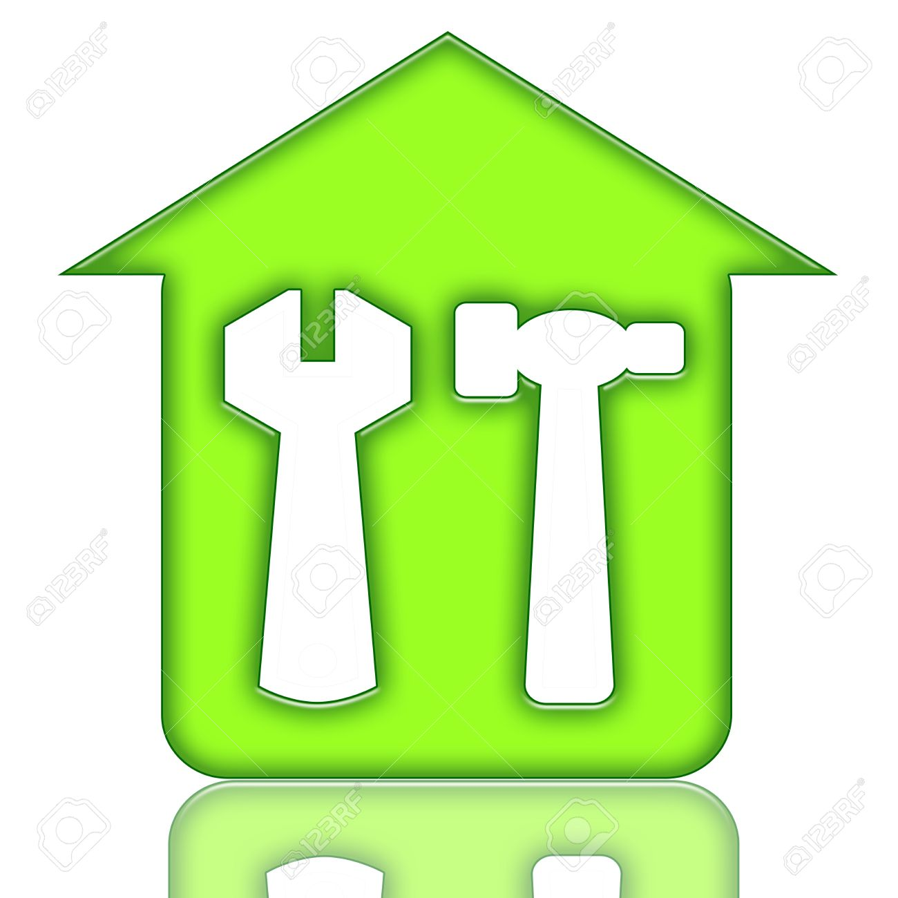 house renovations green icon with house and tools stock photo 6879869