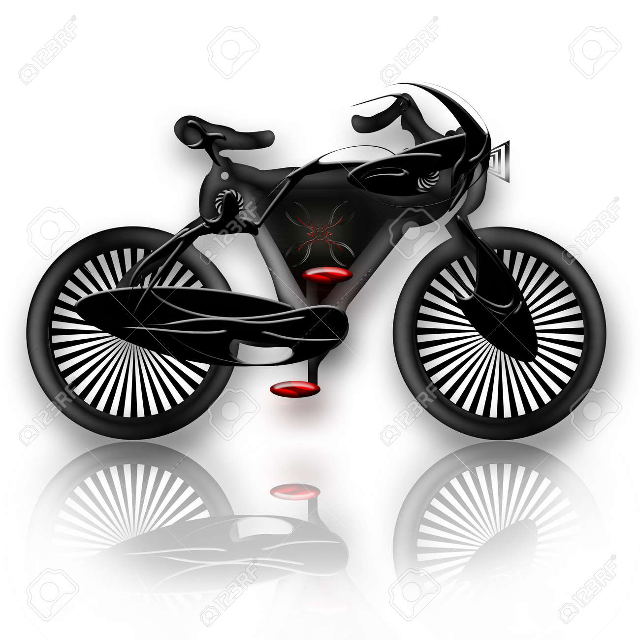 Bicycle Insect, Future concept design insect styled bicycle, illustration with reflection over white background Stock Photo - 7087873
