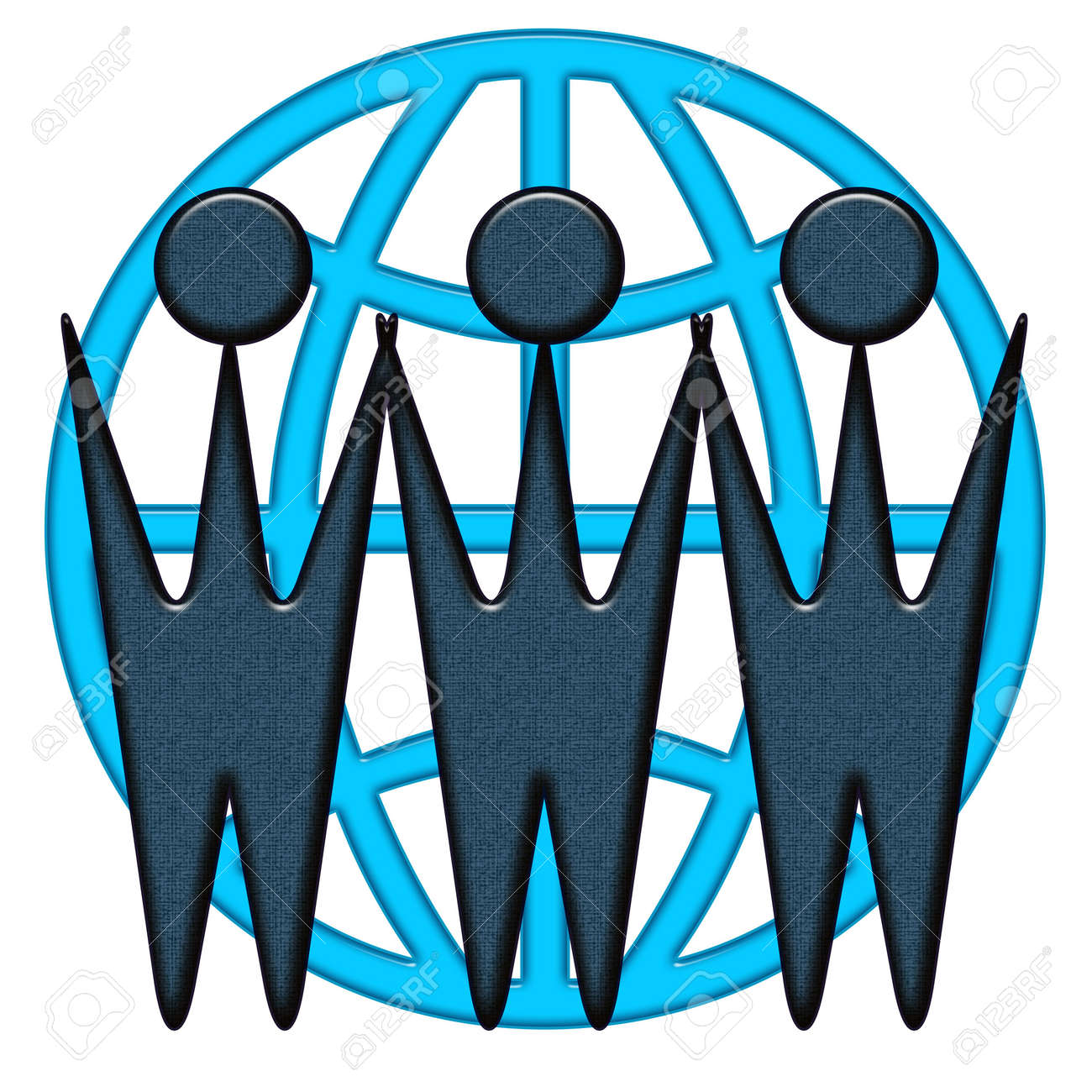 Global worldwide business cooperation blue icon with WWW letters as business people silhouettes Stock Photo - 7087545