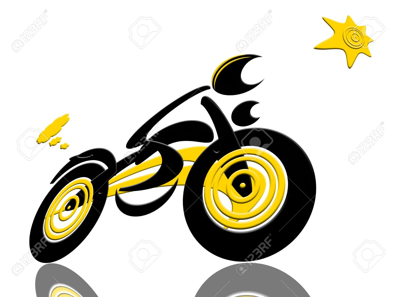 Biker Catch The Sun, Abstract Extreme Sports Speed Biker Racing With The  Sun Isolated Over