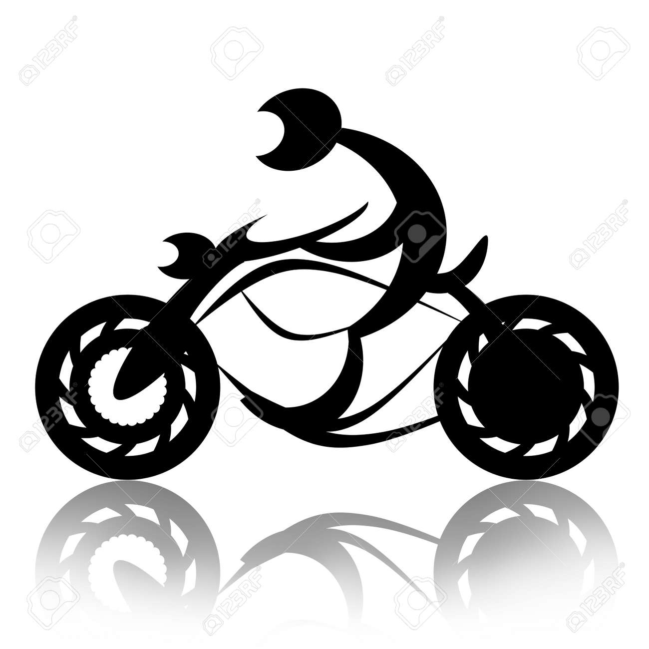 Biker Rides Motorcycle Abstract Silhouette Illustration Over White  Background Stock Illustration   7381288