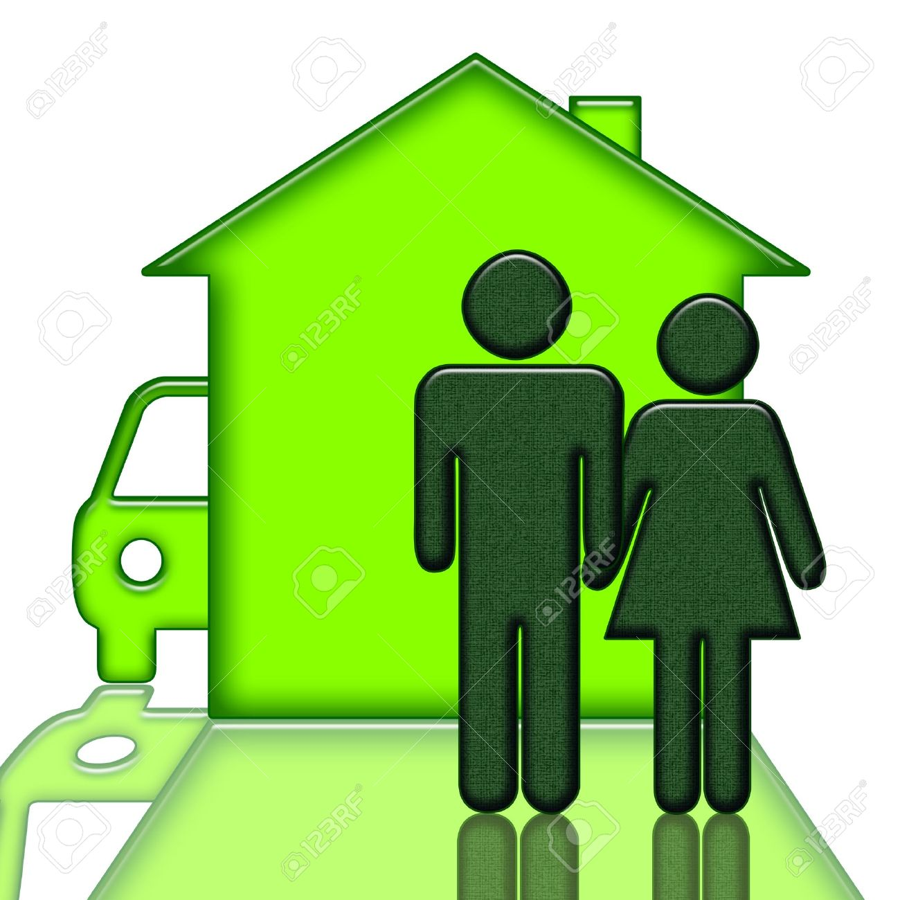 people near house and car isolated over white background stock photo