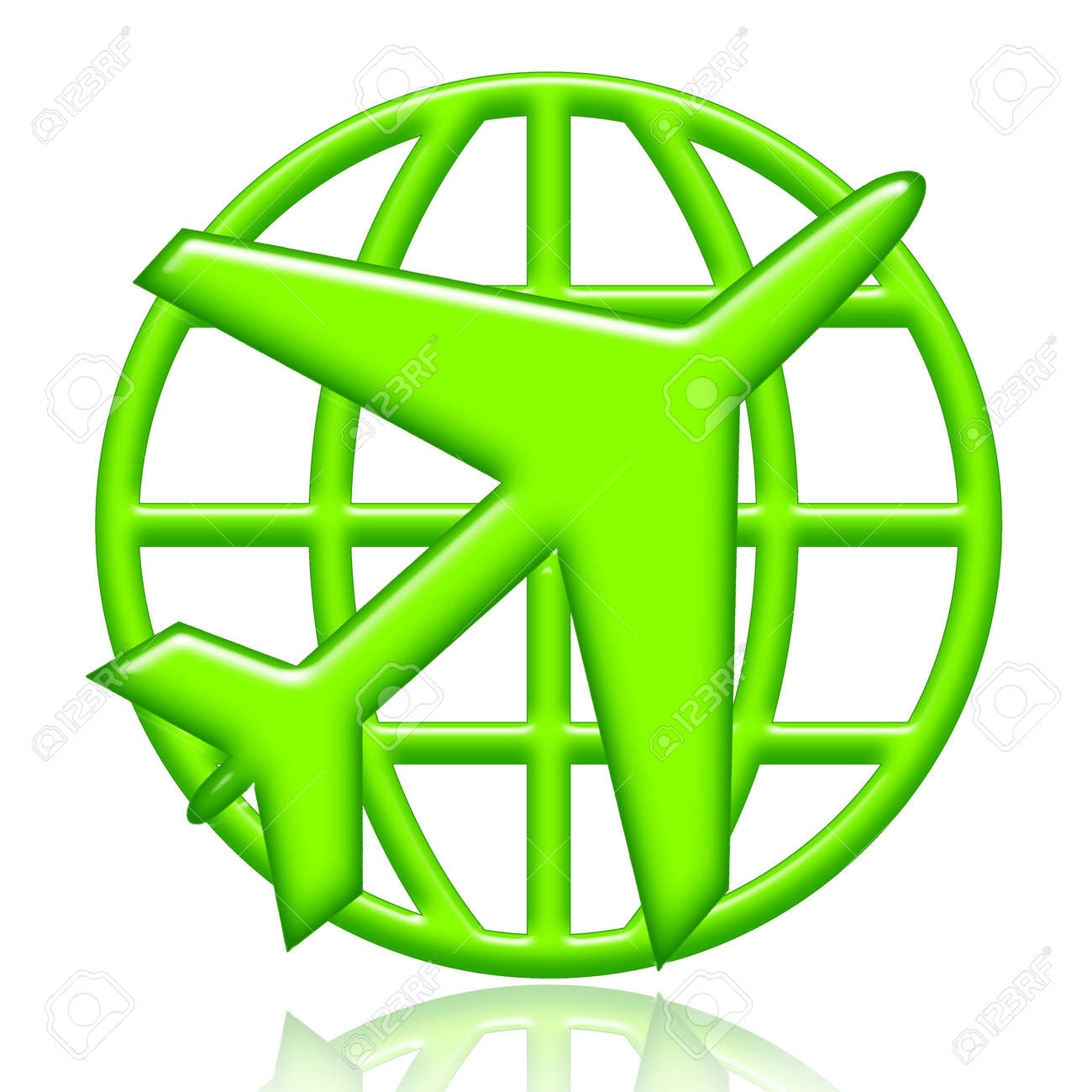 Airplane and globe green icon isolated over white background - 8733148