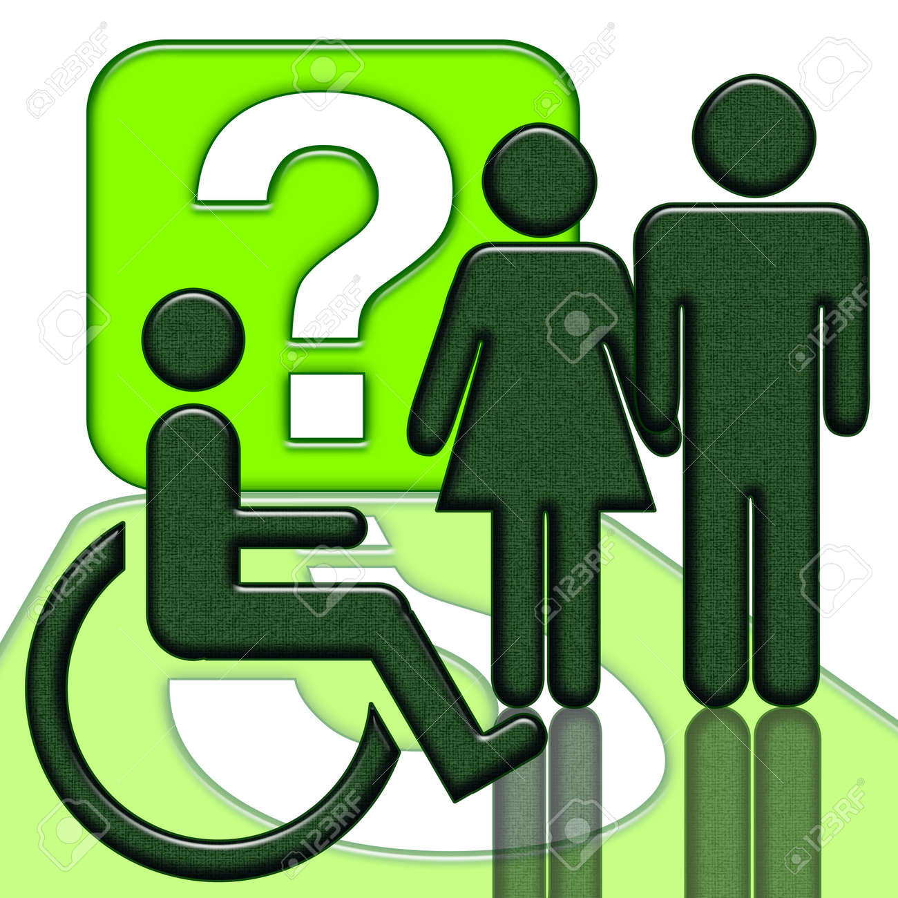 Man and woman near handicapped person in wheelchair green icon isolated over white background Stock Photo - 9116784