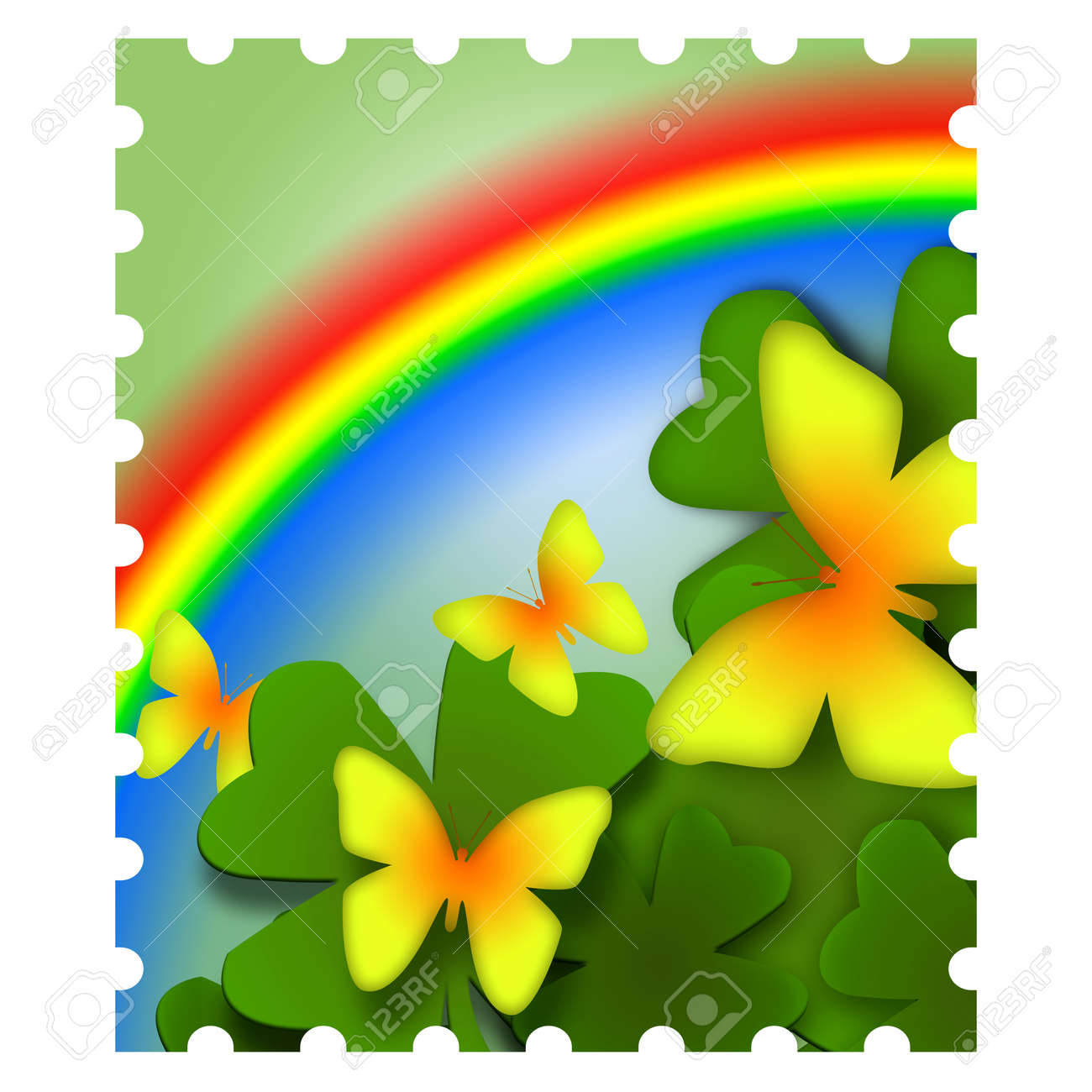 Spring inspired postage stamp illustration with yellow butterflies and colorful rainbow Stock Photo - 9137987