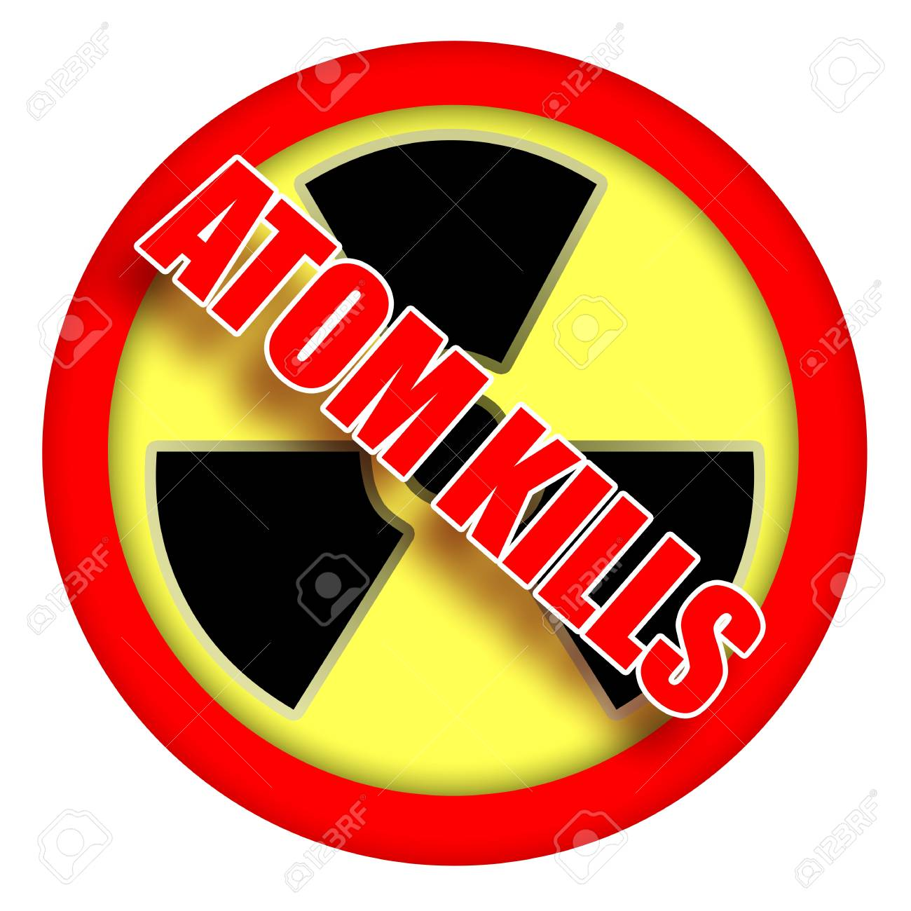 Atom kills, nuclear protest sign illustration isolated over white background Stock Illustration - 9369958