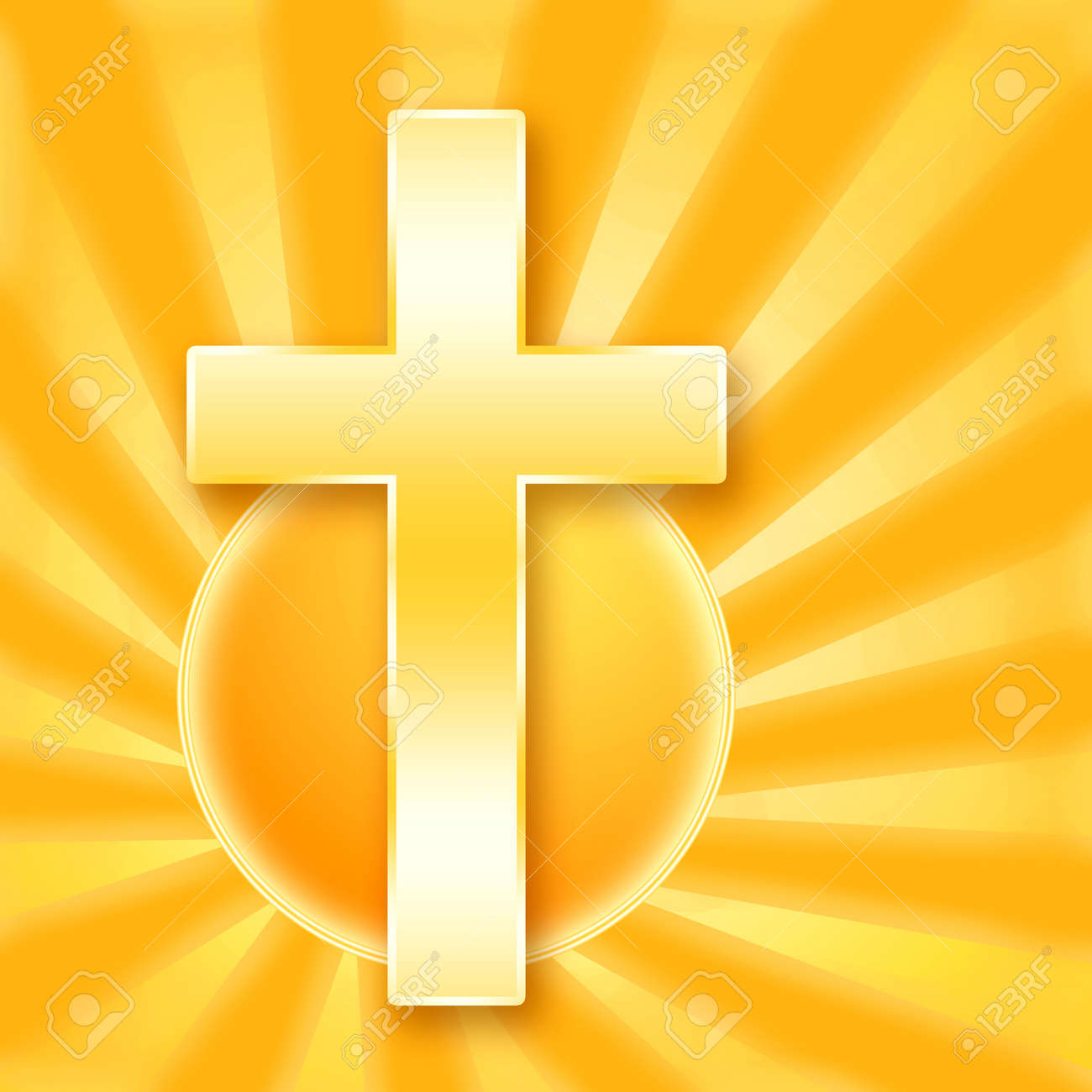 Christian holy сross in shining rays of the golden sun Stock Photo - 9490960