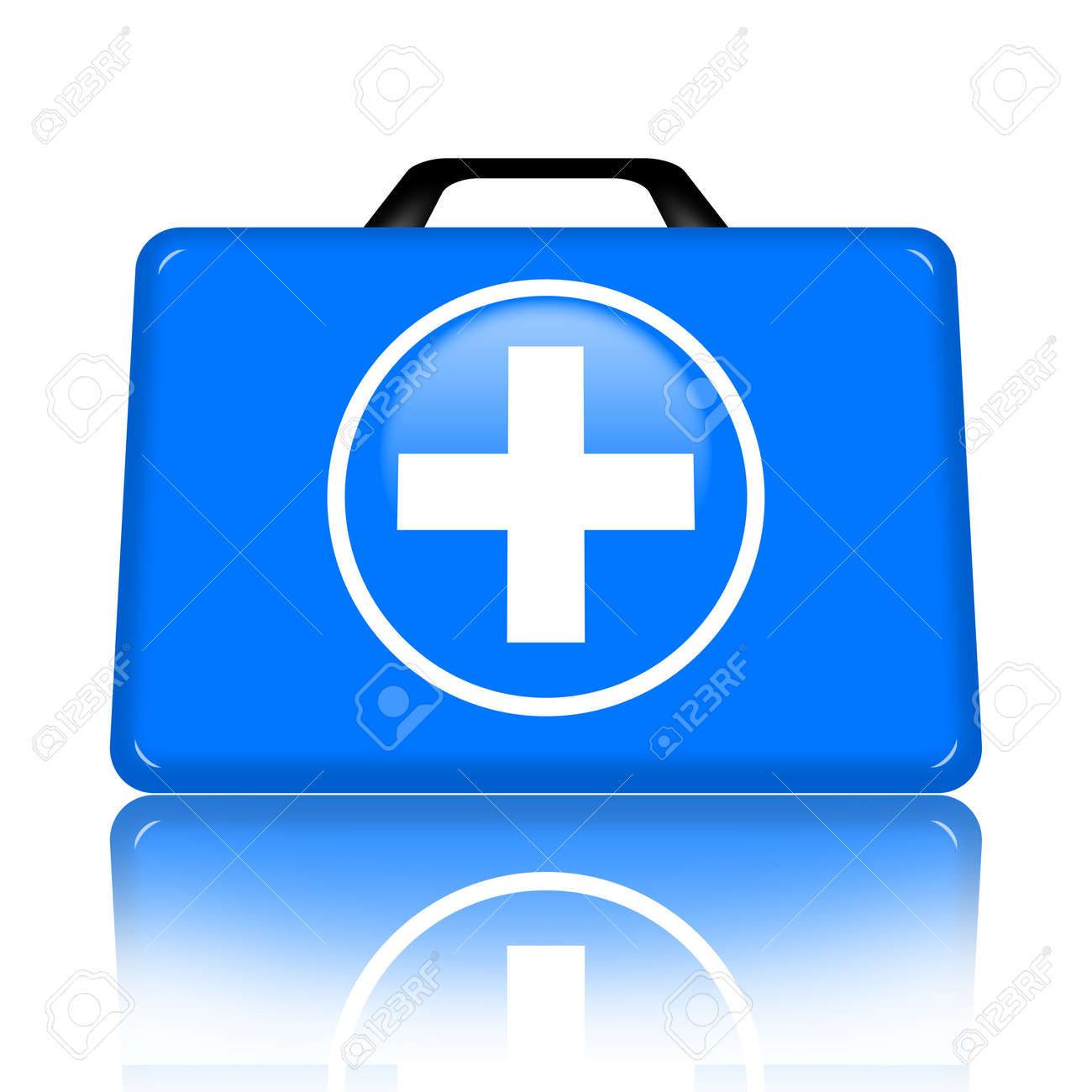 First aid kit with medical cross illustration isolated over white background Stock Photo - 9545402