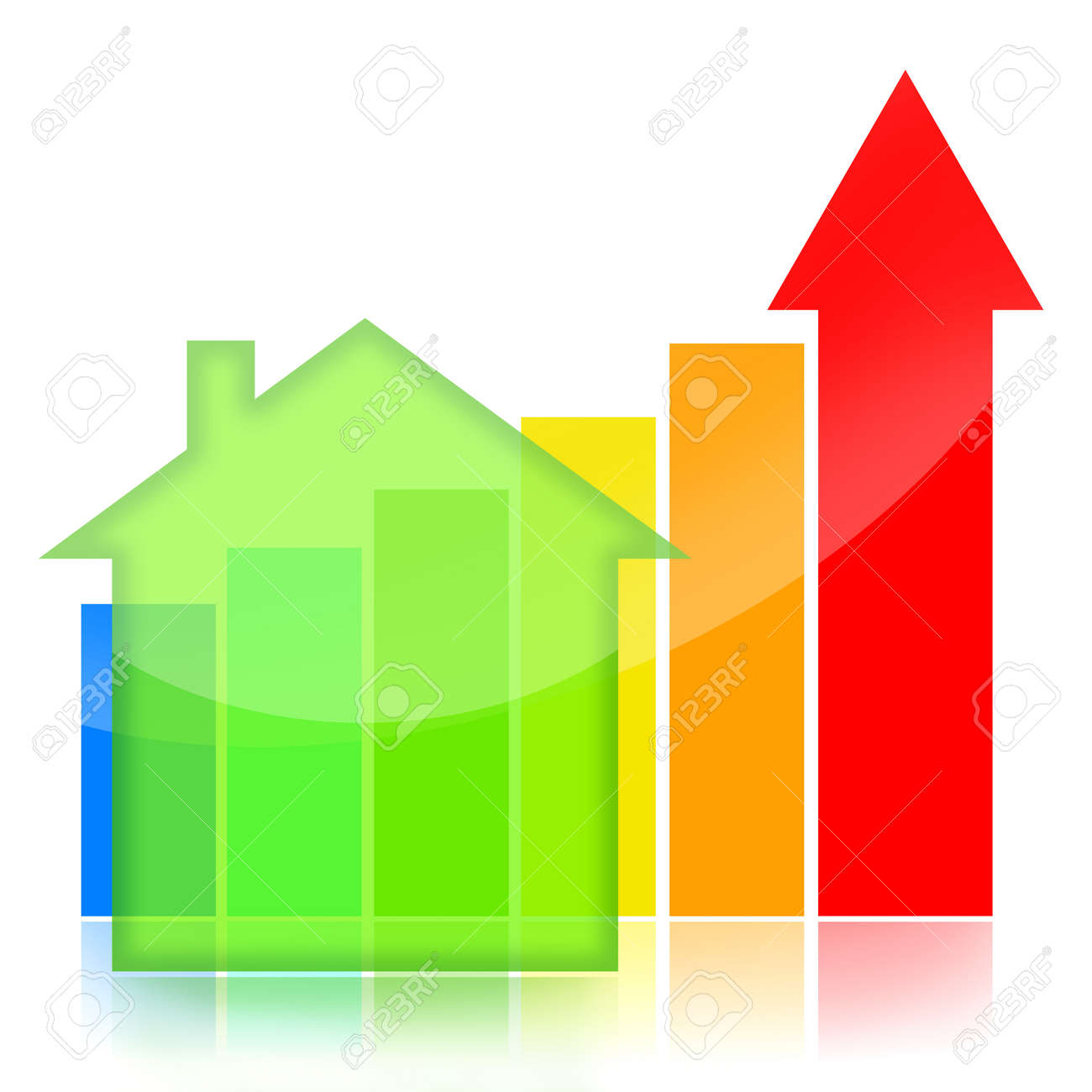 Housing market business charts with green house and colorful statistical bar Stock Photo - 10272617
