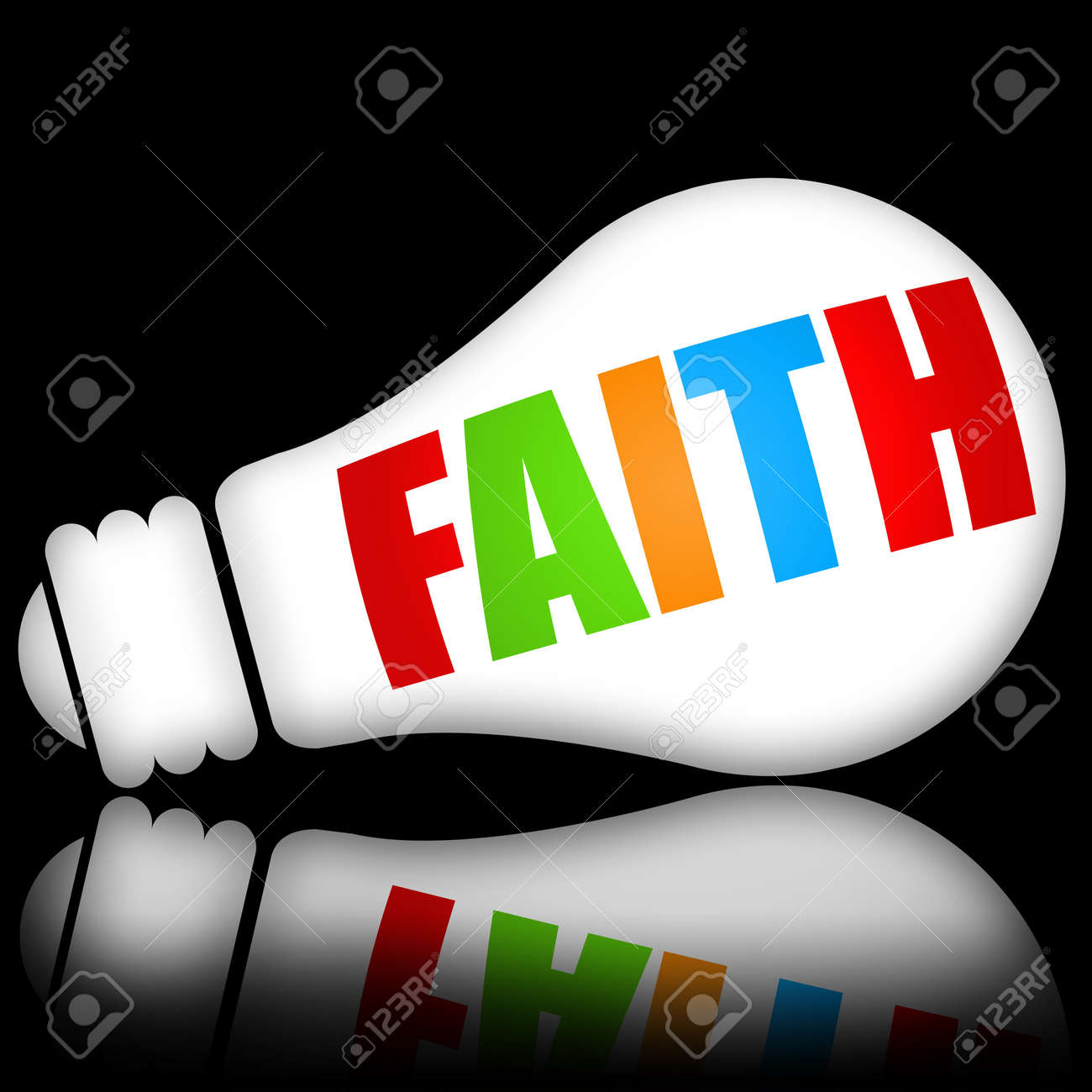 Faith concept with bright electric lamp against dark black background Stock Photo - 11135590