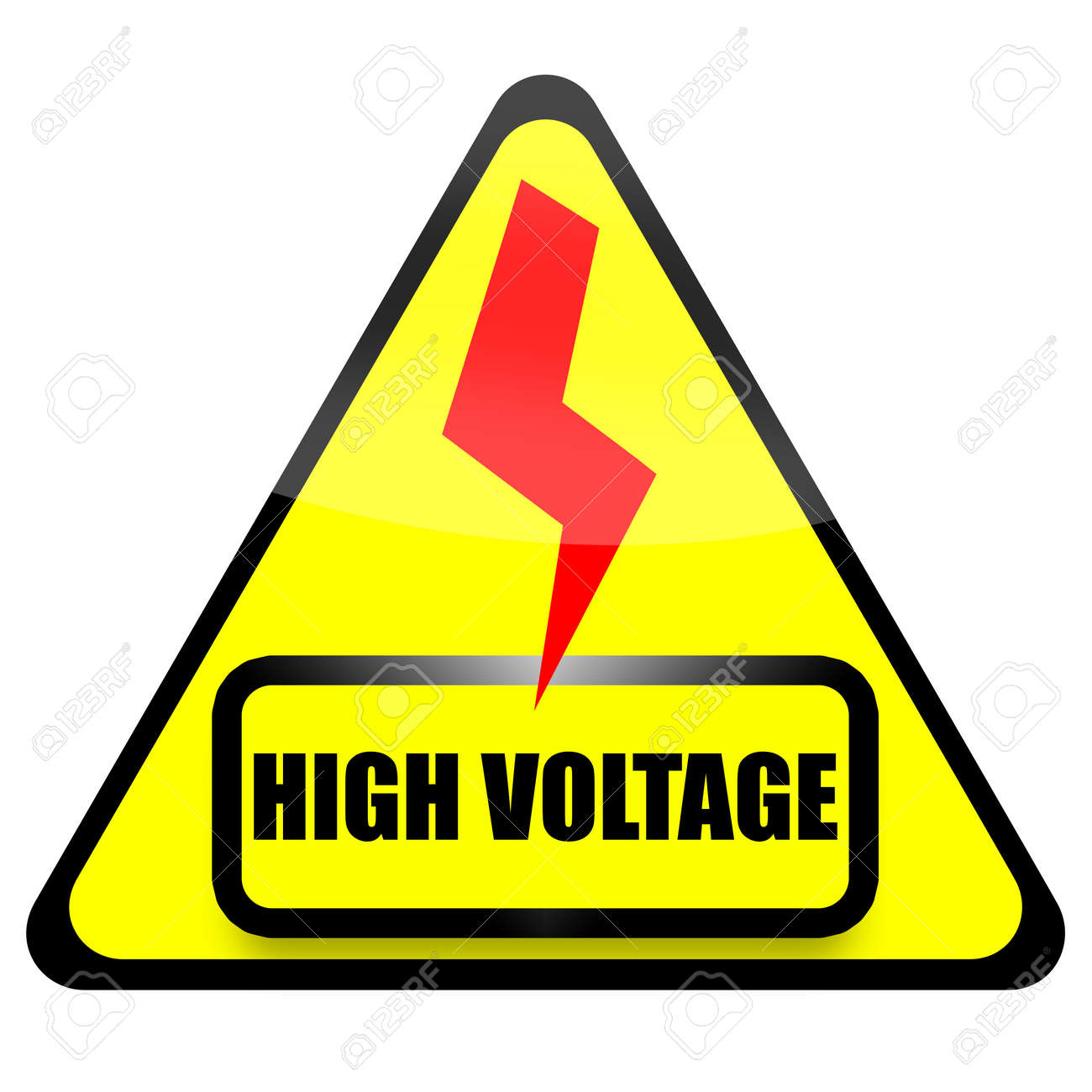 High Voltage sign with red thunder isolated on white background Stock Photo - 11135588