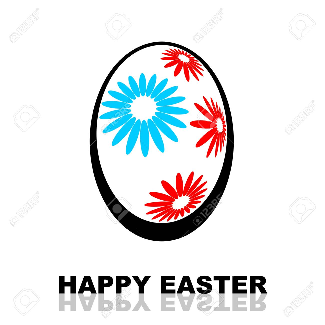 Happy Easter illustration with floral decorated Easter egg isolated on white background Stock Illustration - 12701223