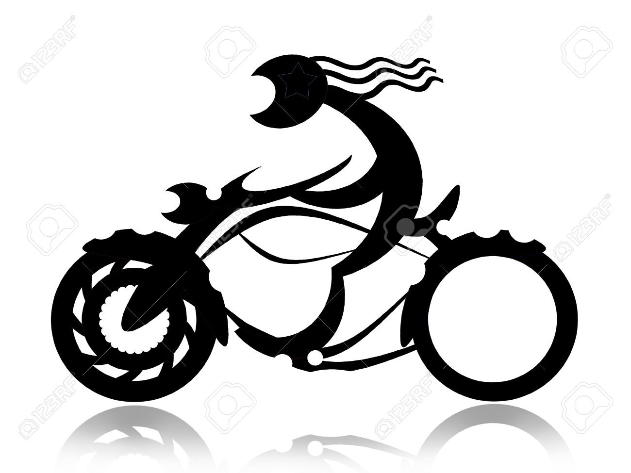 Biker on motorcycle black silhouette isolated on white background Stock Photo - 13420018
