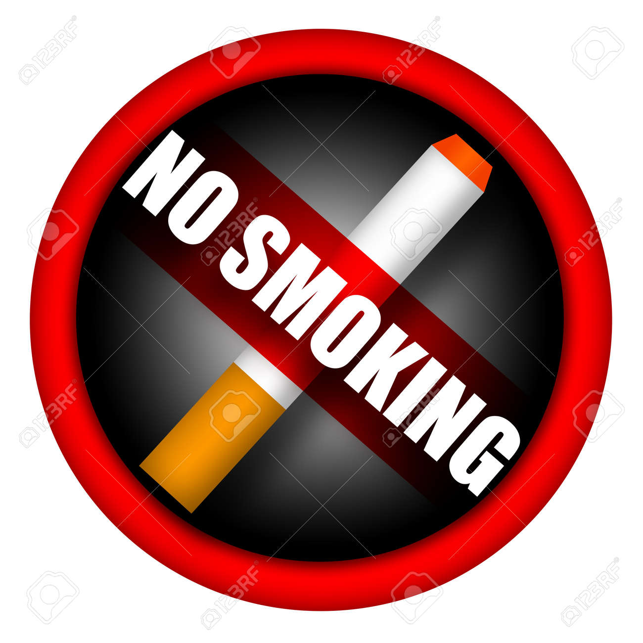 No smoking sign with cigarette and caution inscription isolated over white background Stock Photo - 13638893