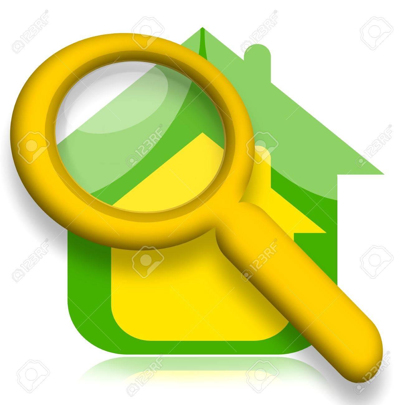House under magnifying glass illustration over white background Stock Illustration - 15149982