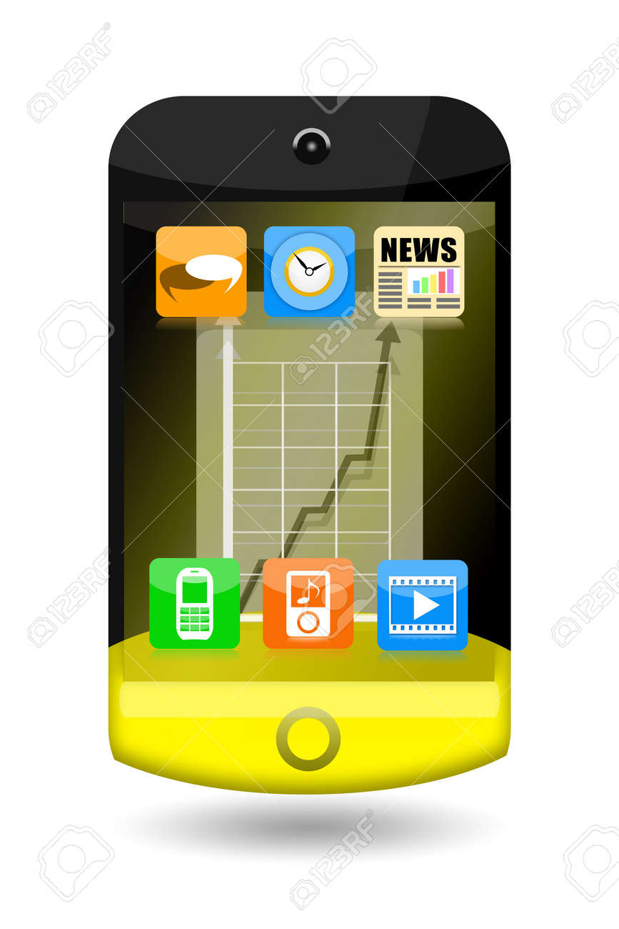 Creative smartphone with apps icons and upward arrow on the touch screen isolated on white background Stock Photo - 17684239