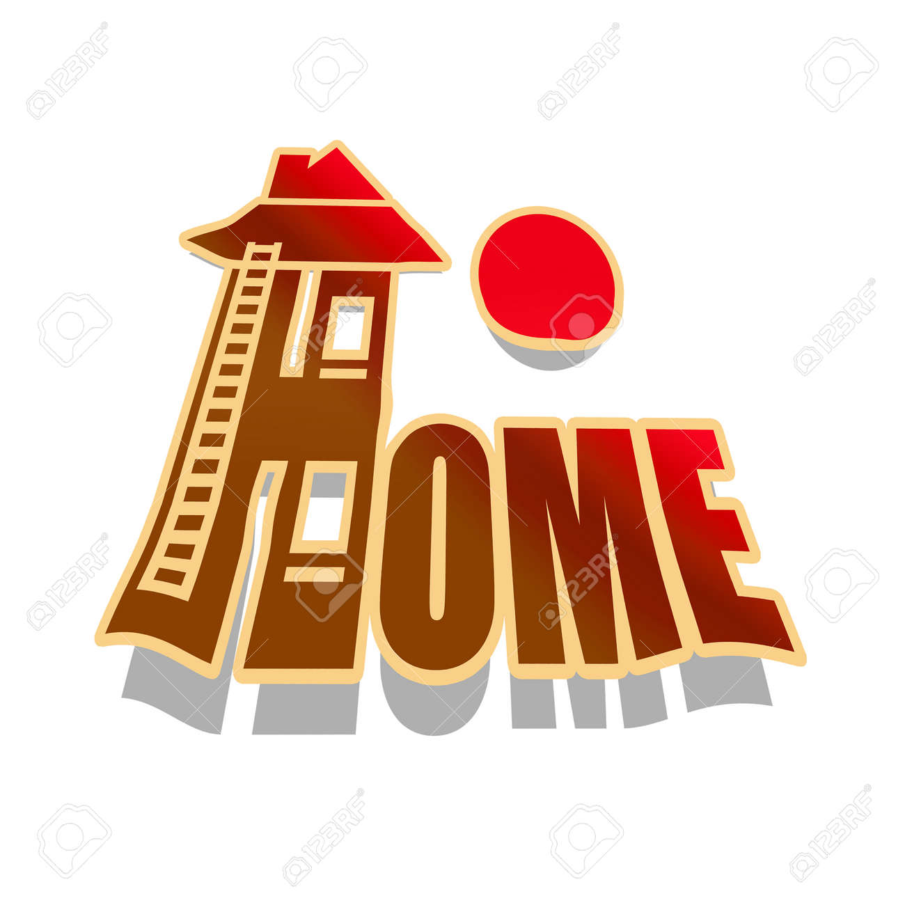 Home sweet home, house and sun illustration on white background Stock Photo - 18413190