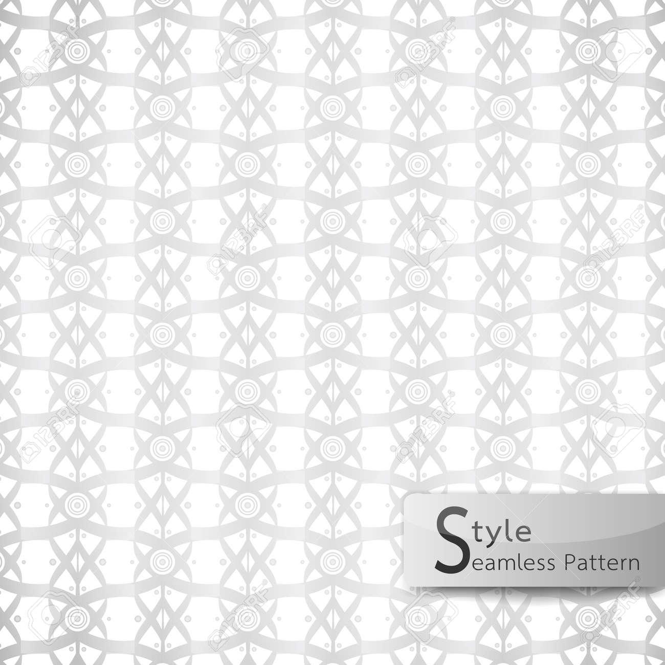 Abstract Seamless Pattern Lattice Lotus Flower Ribbon White