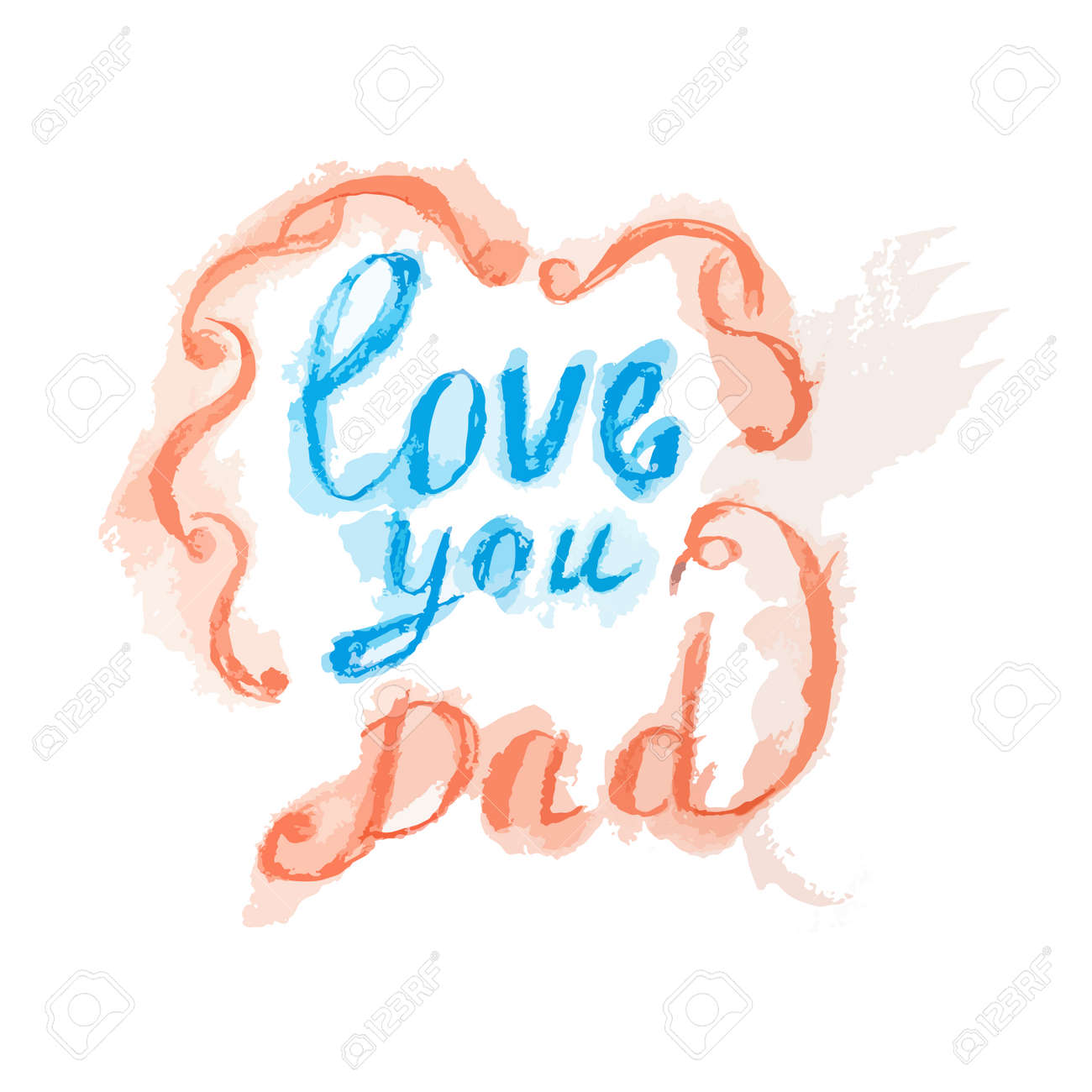 Love You Dad Lettering With Frame Greeting Card Fathers Day