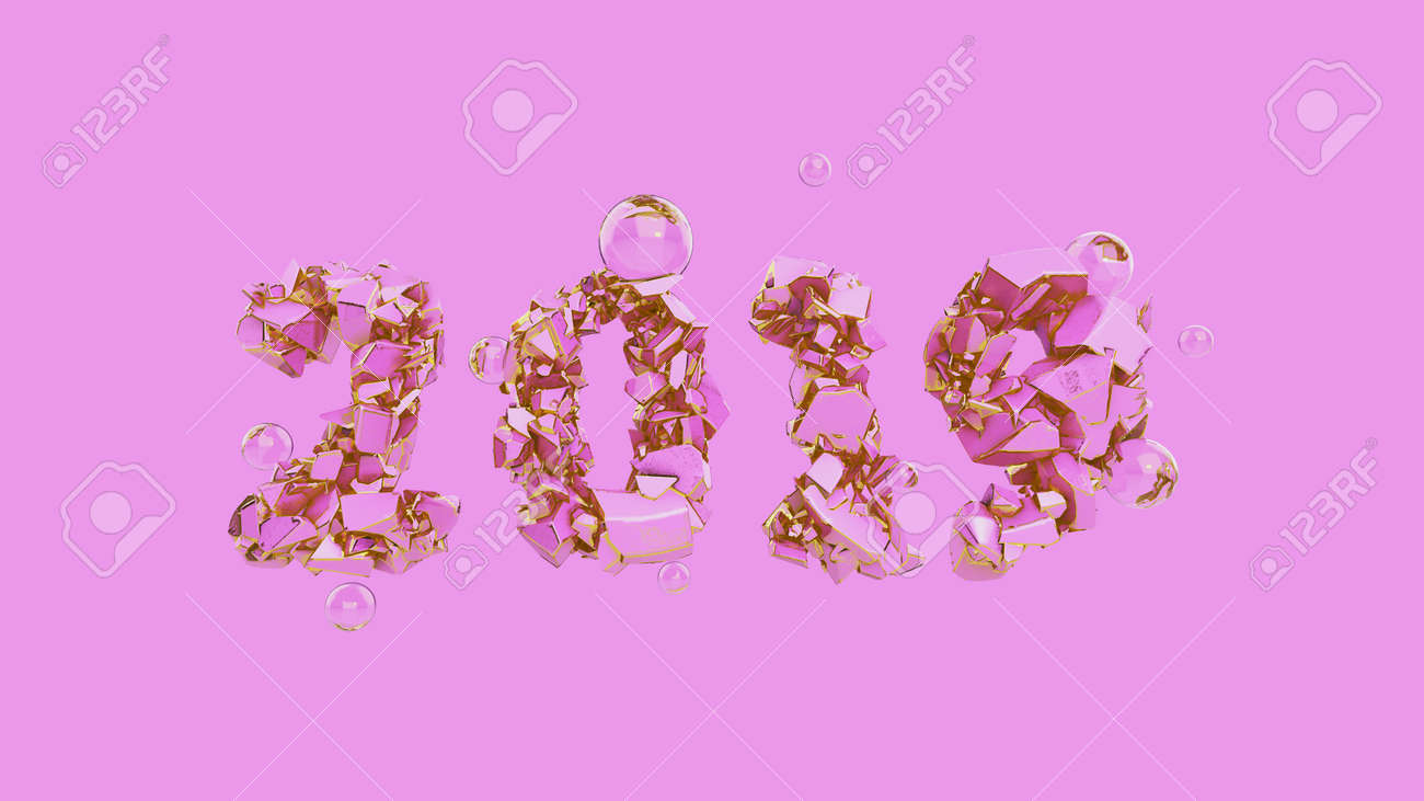 happy new year banner with 2019 trendy pink color and gold numbers made by shattered cracked