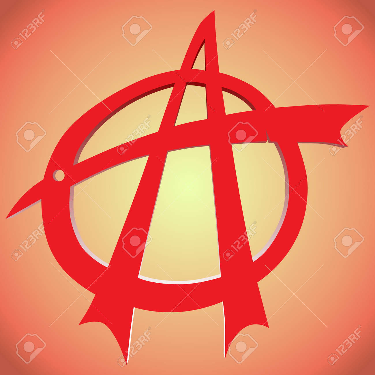 Torn Anarchy Symbol In Red With A Background Royalty Free Cliparts